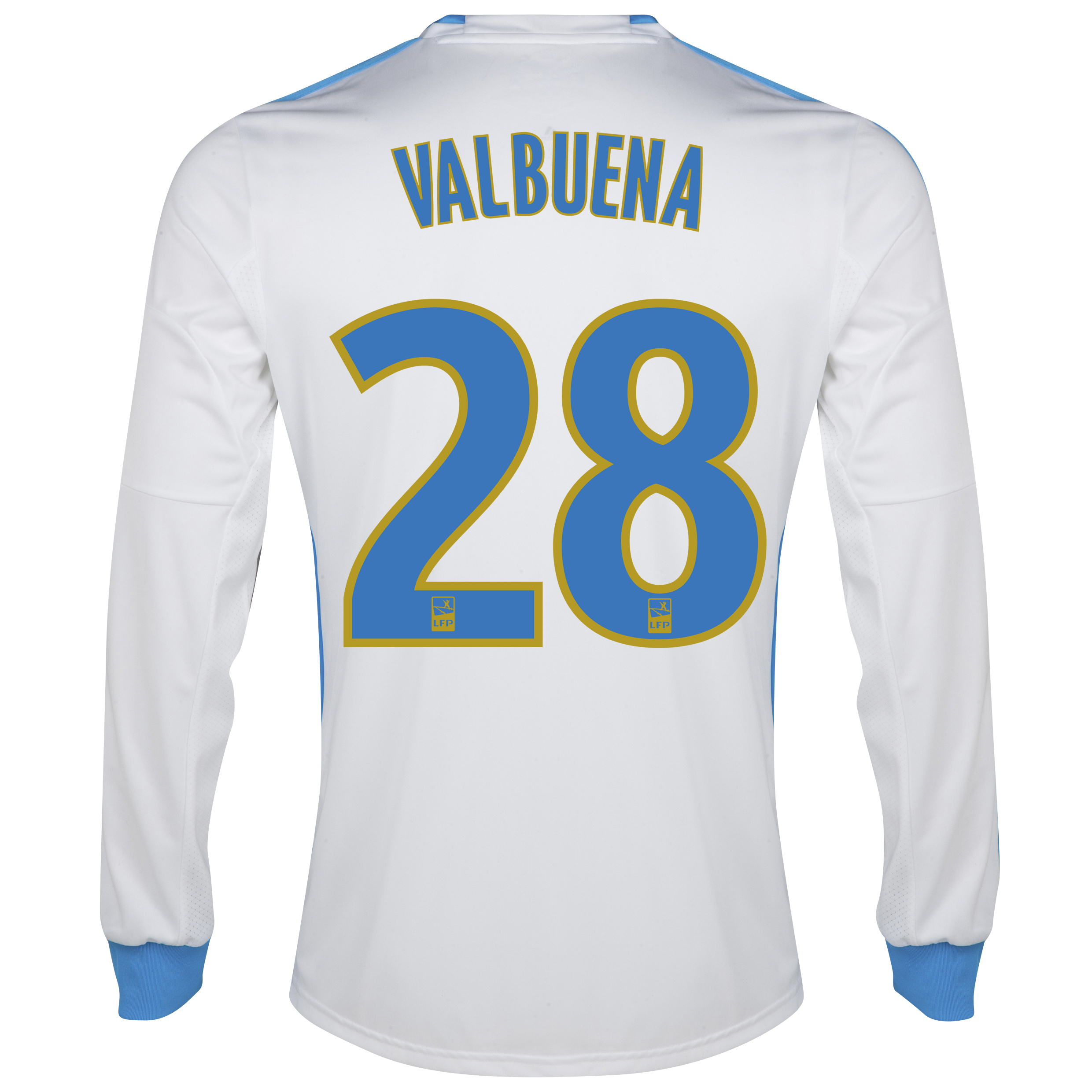 Olympique De Marseille Home Shirt LS 2013/14 - Mens White with Valbuena 28 printing