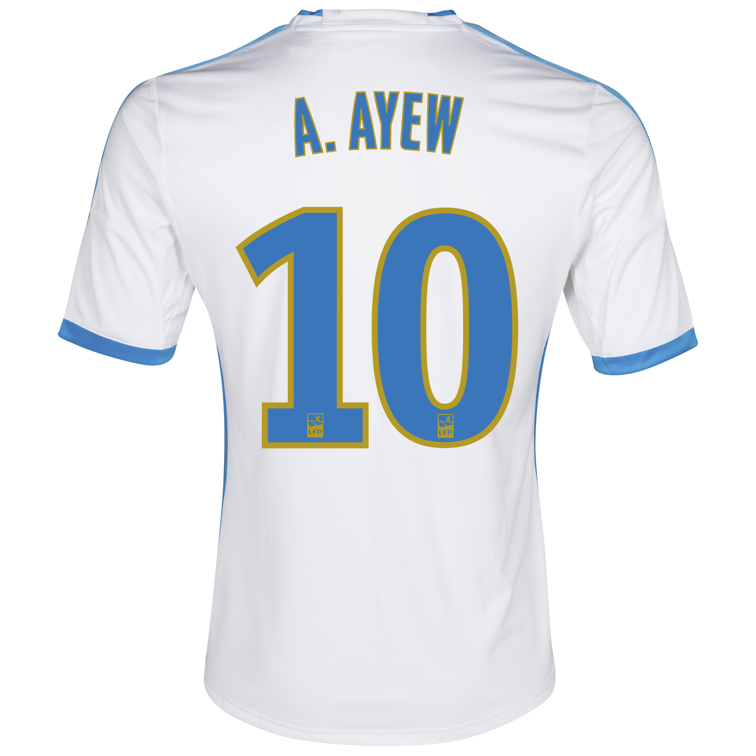 Olympique de Marseille Home Shirt SS 2013/14 - Kids White with A.Ayew 10 printing