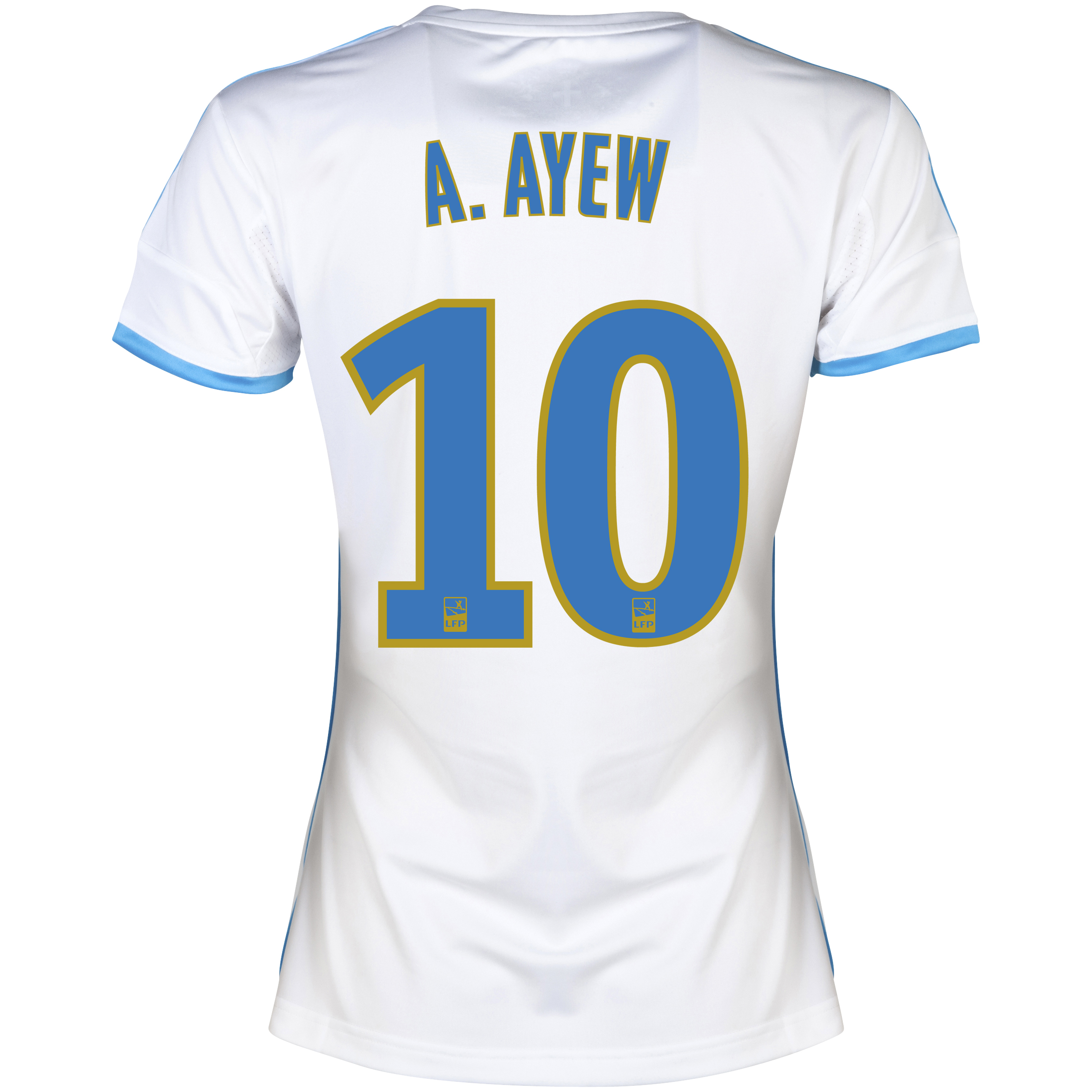 Olympique De Marseille Home Shirt SS 2013/14 - Womens White with A.Ayew 10 printing