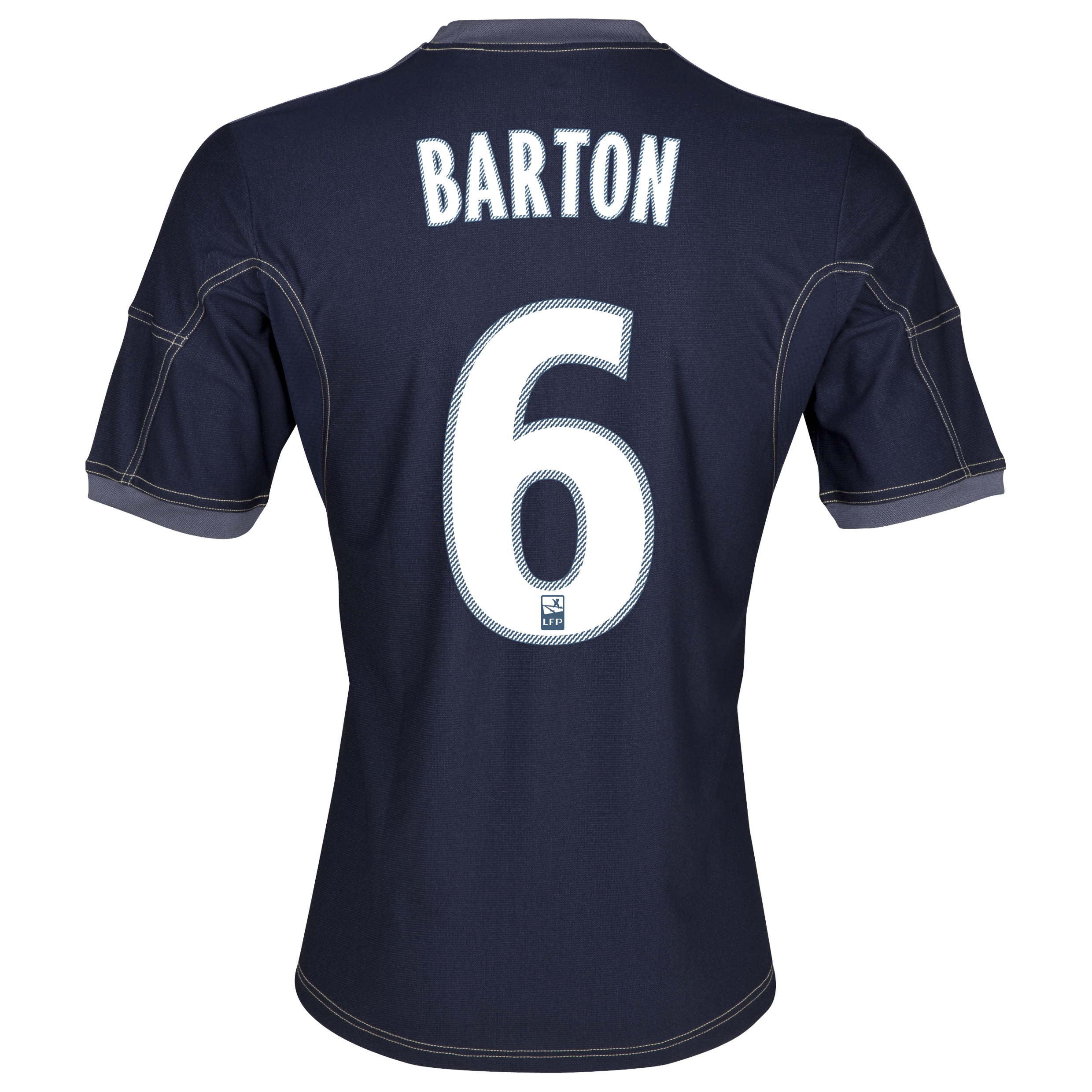 Olympique De Marseille Away Shirt SS 2013/14 - Mens Lt Blue with Barton 6 printing