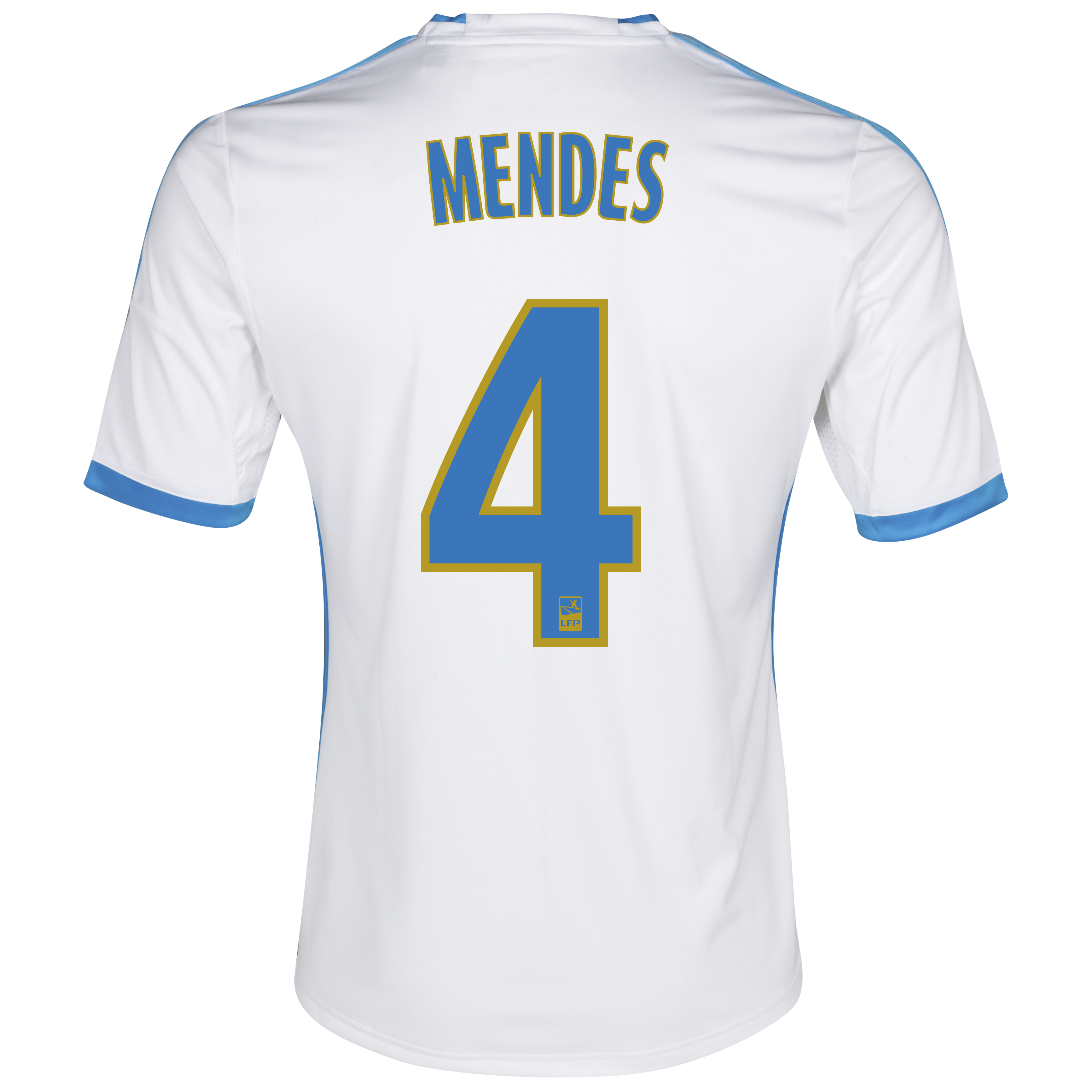 Olympique de Marseille Home Shirt SS 2013/14 - Womens White with Mendes 4 printing