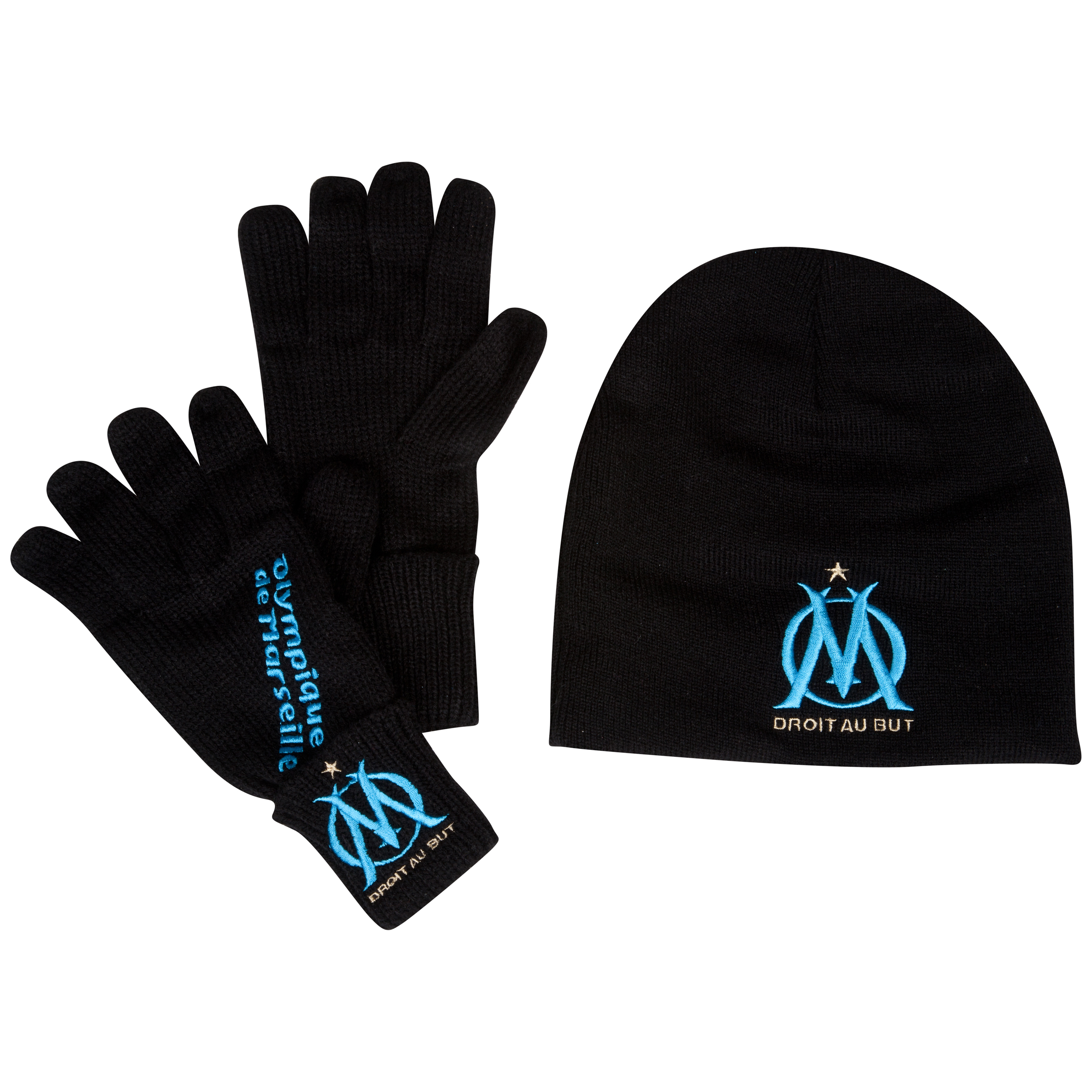 Olympique de Marseille Glove and Beanie Set - Blue