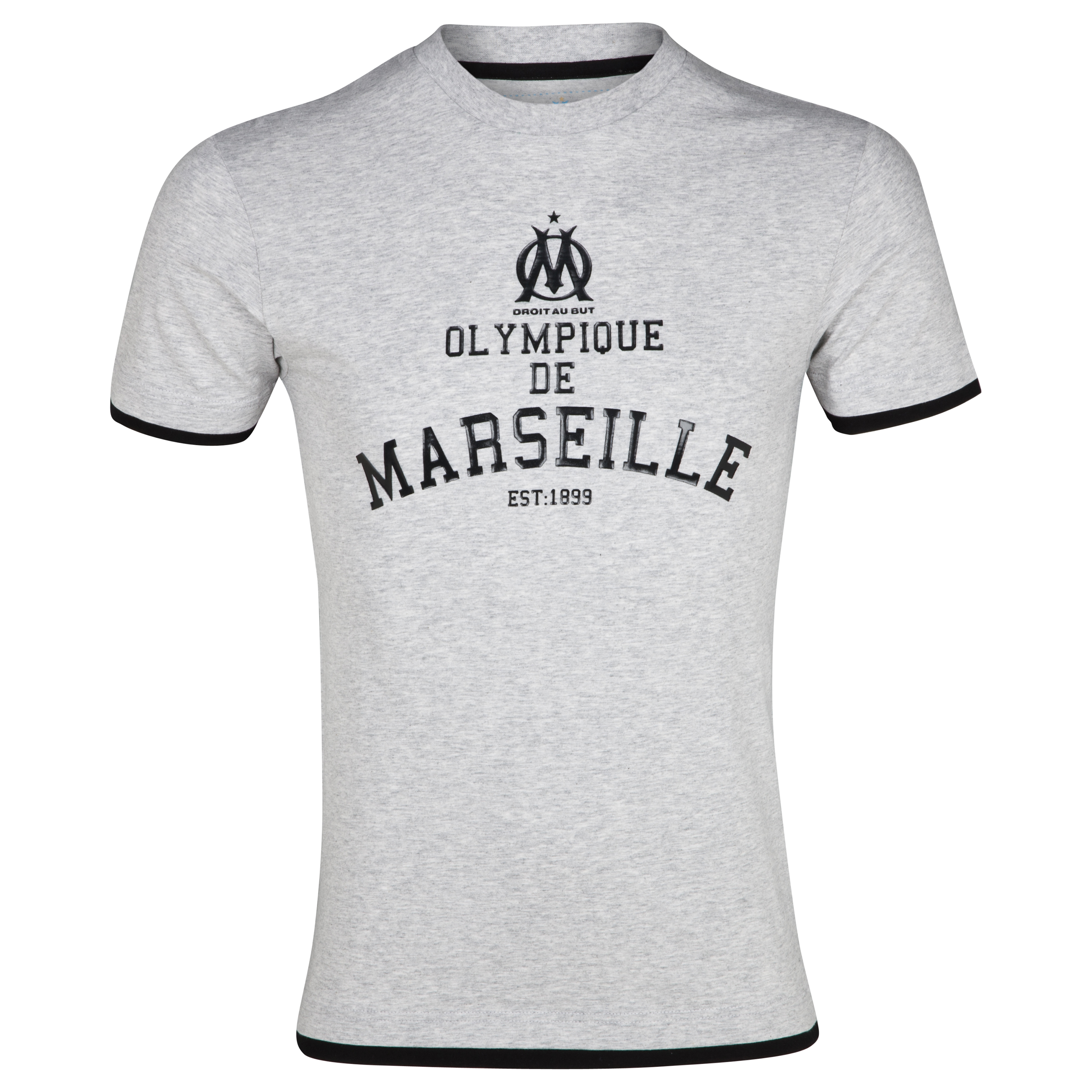 Olympique de Marseille Athletic Crew Neck T-Shirt - Grey - Junior
