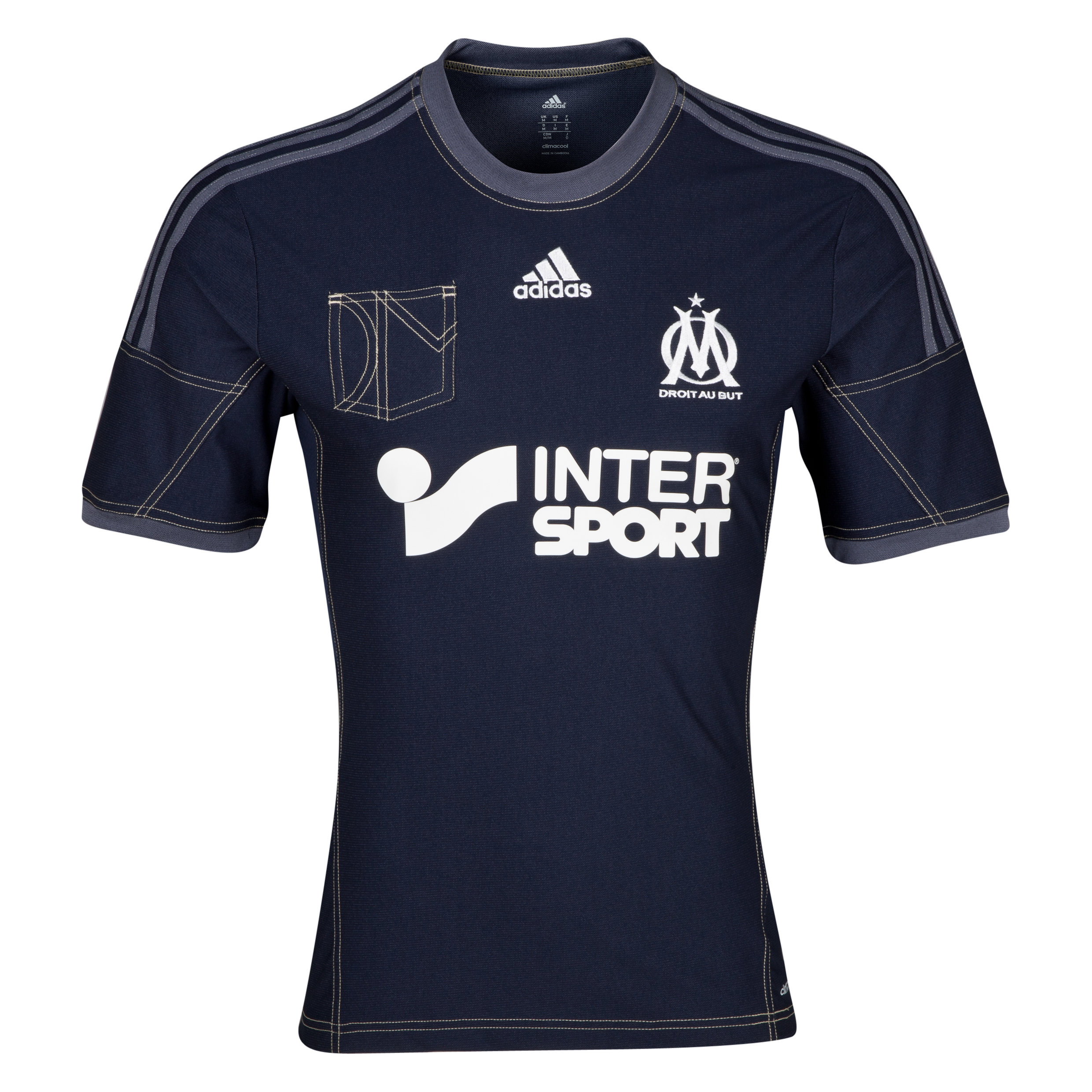 Olympique de Marseille Away Shirt SS 2013/14 Mens Lt Blue