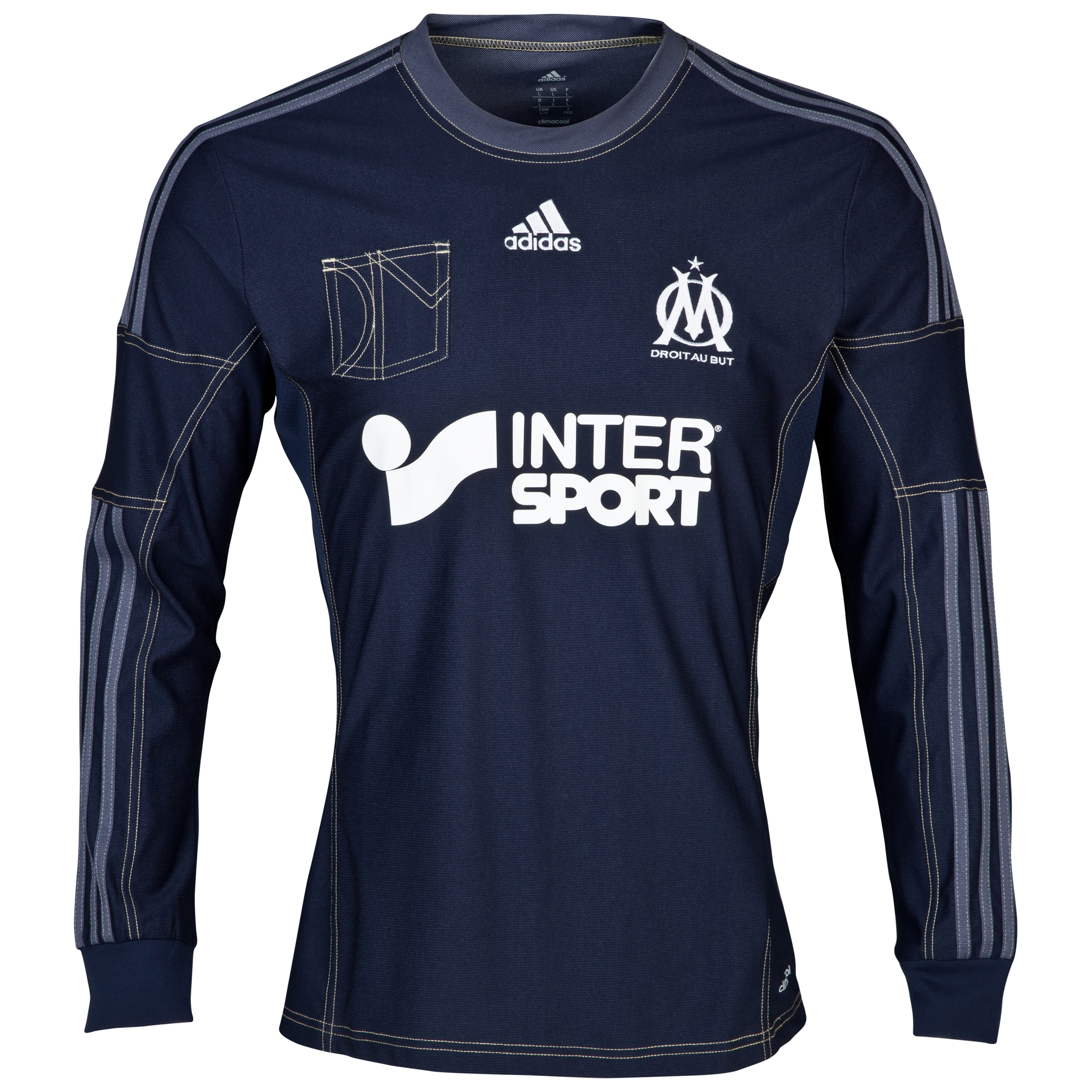 Olympique de Marseille Away Shirt LS 2013/14 - Mens Lt Blue