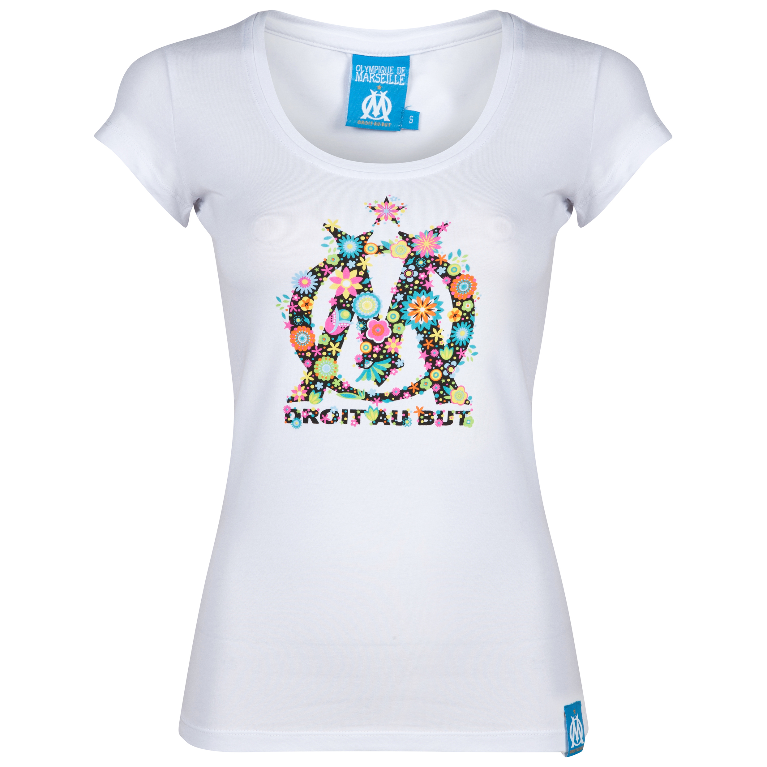 Olympique de Marseille Flower Logo T-Shirt - Womens White