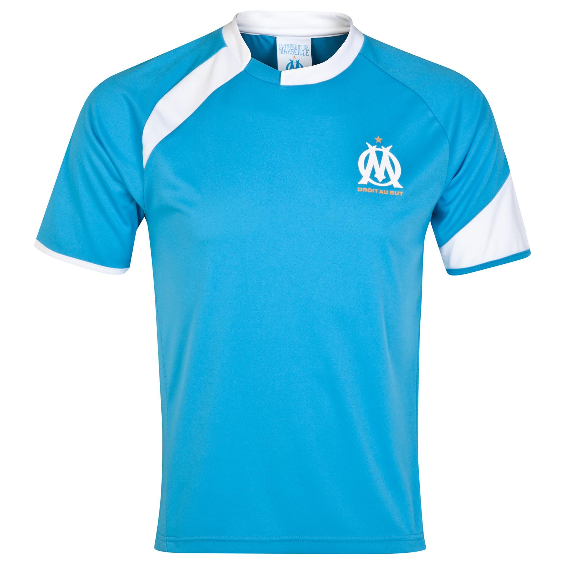 Olympique de Marseille Crest Logo Polyester T-Shirt - Blue - mens