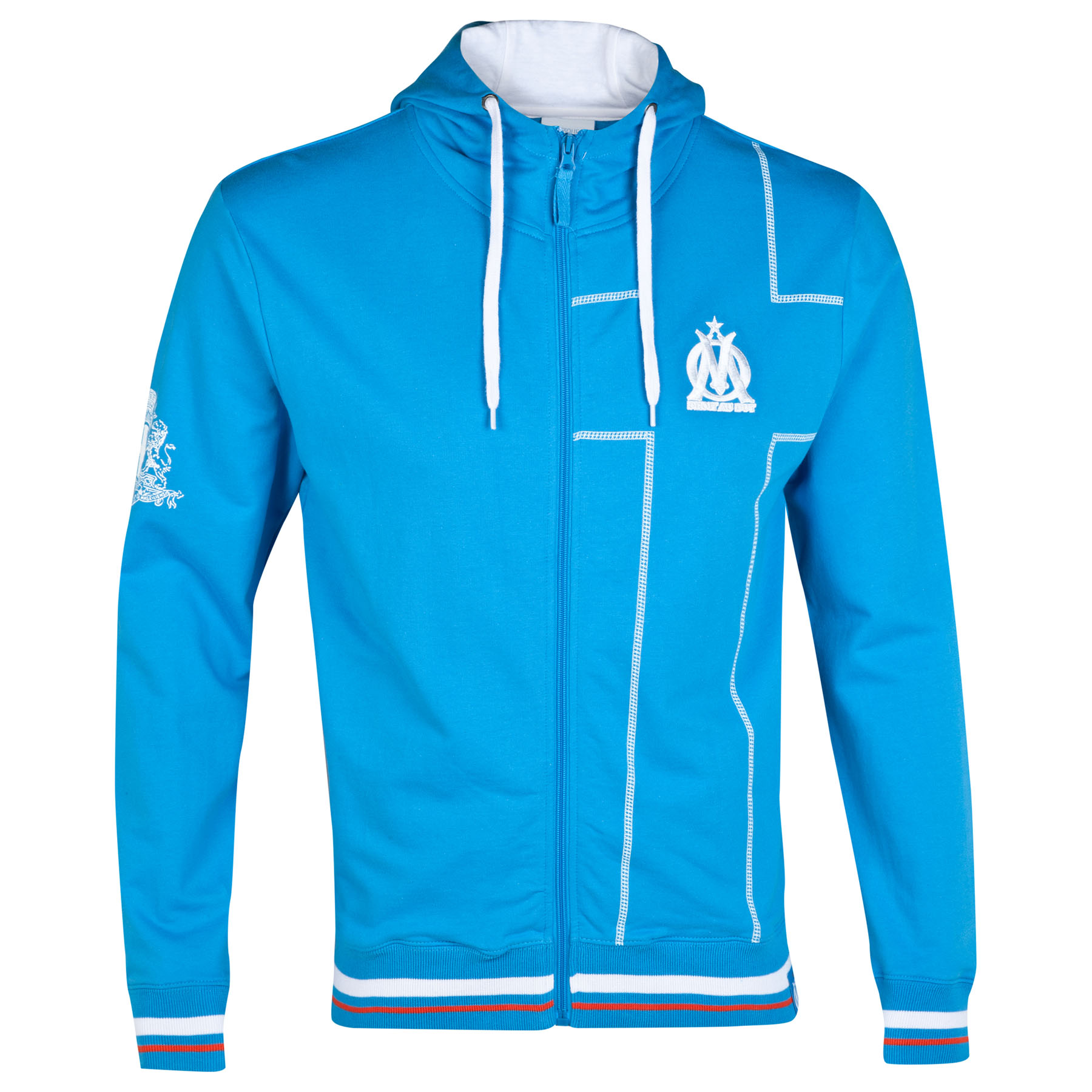 Olympique de Marseille Cross Zip Through Hoodie - Blue - Mens