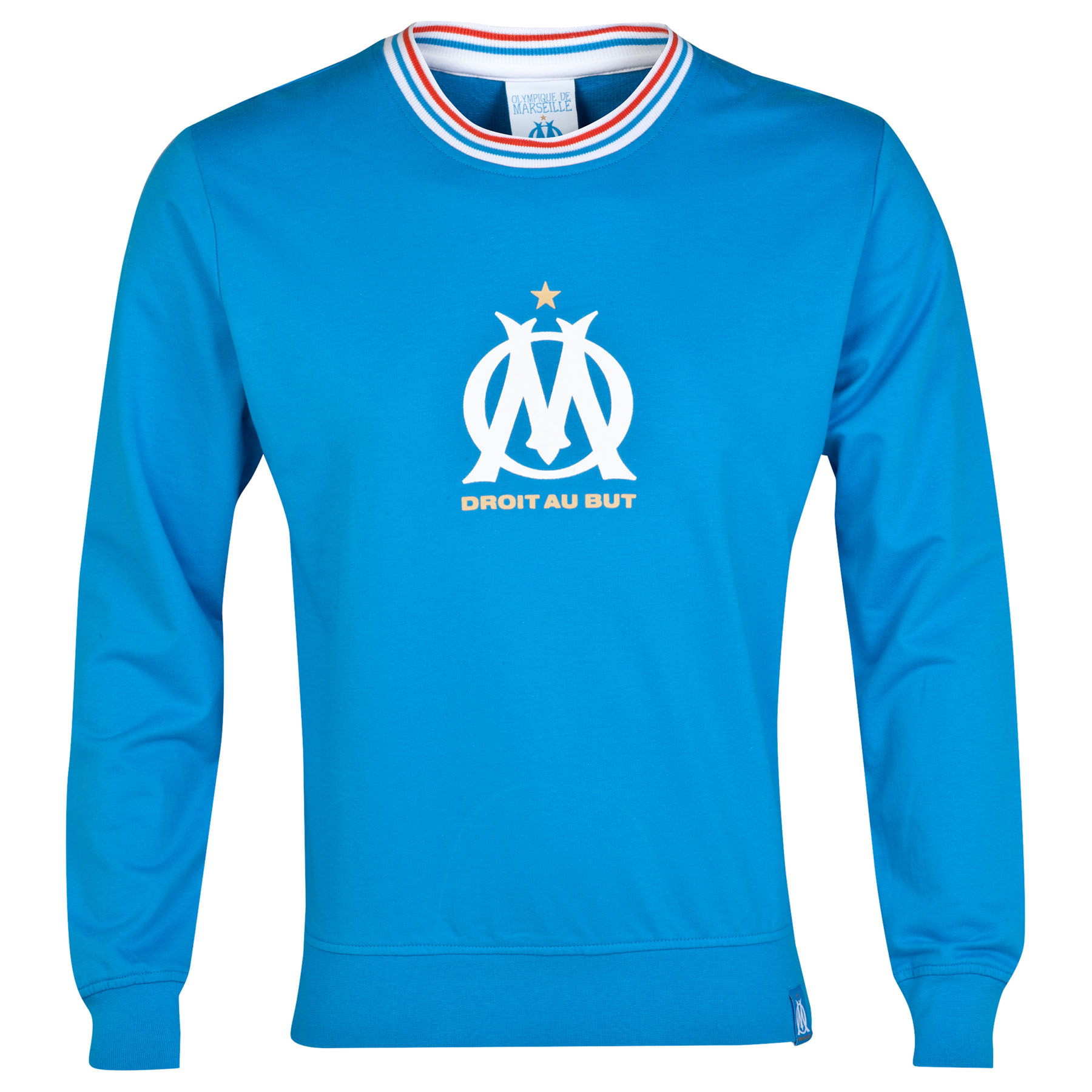 Olympique de Marseille Crest Logo Crew Neck Sweater - Blue - Mens