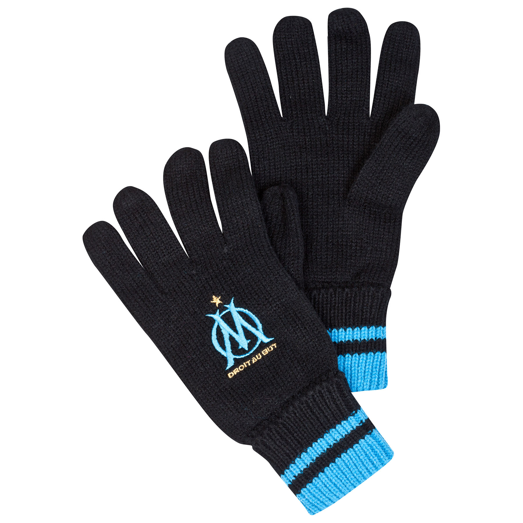 Olympique de Marseille Crest Logo Gloves - Black - Adult