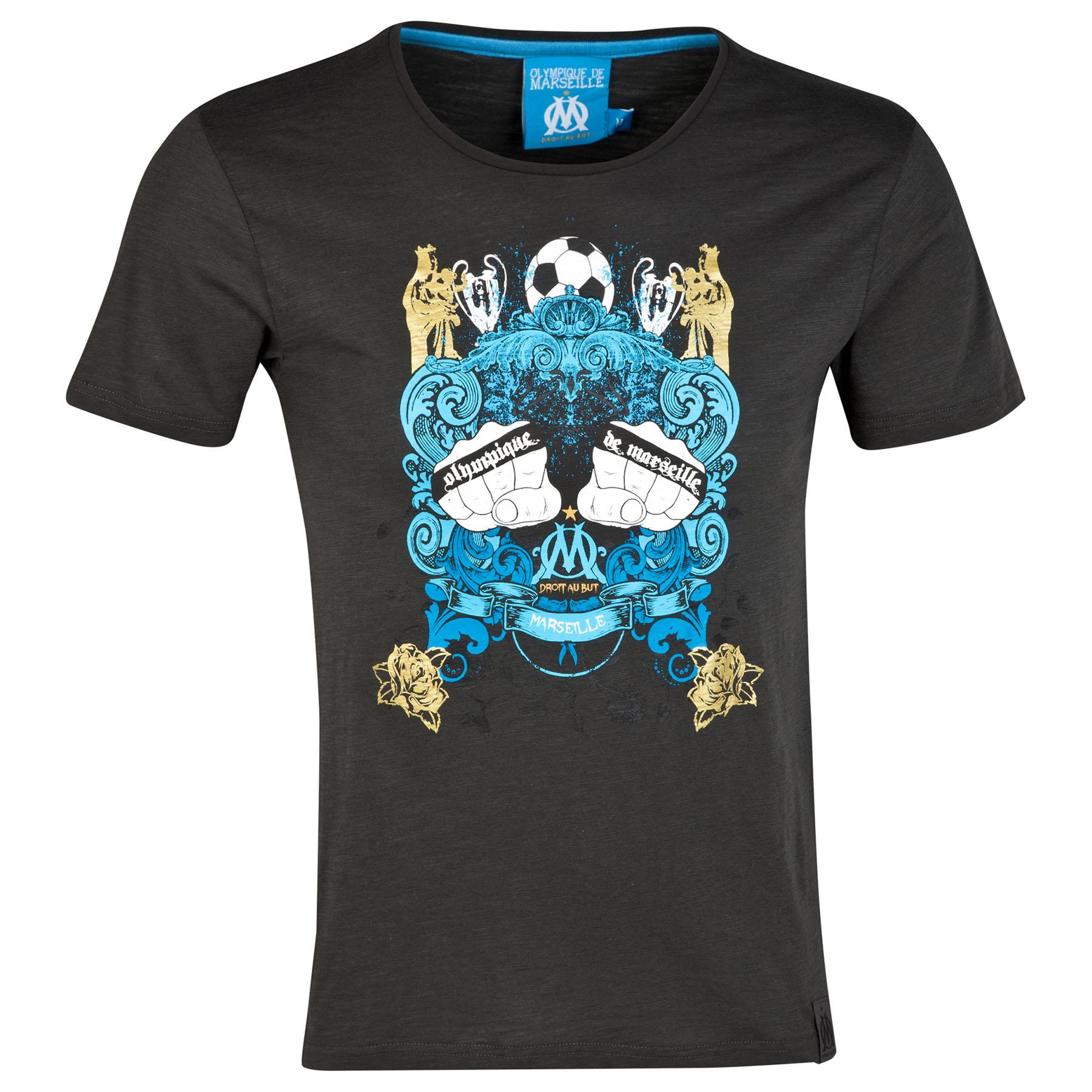 Olympique de Marseille Knuckle Graphic T-Shirt - Black - Mens