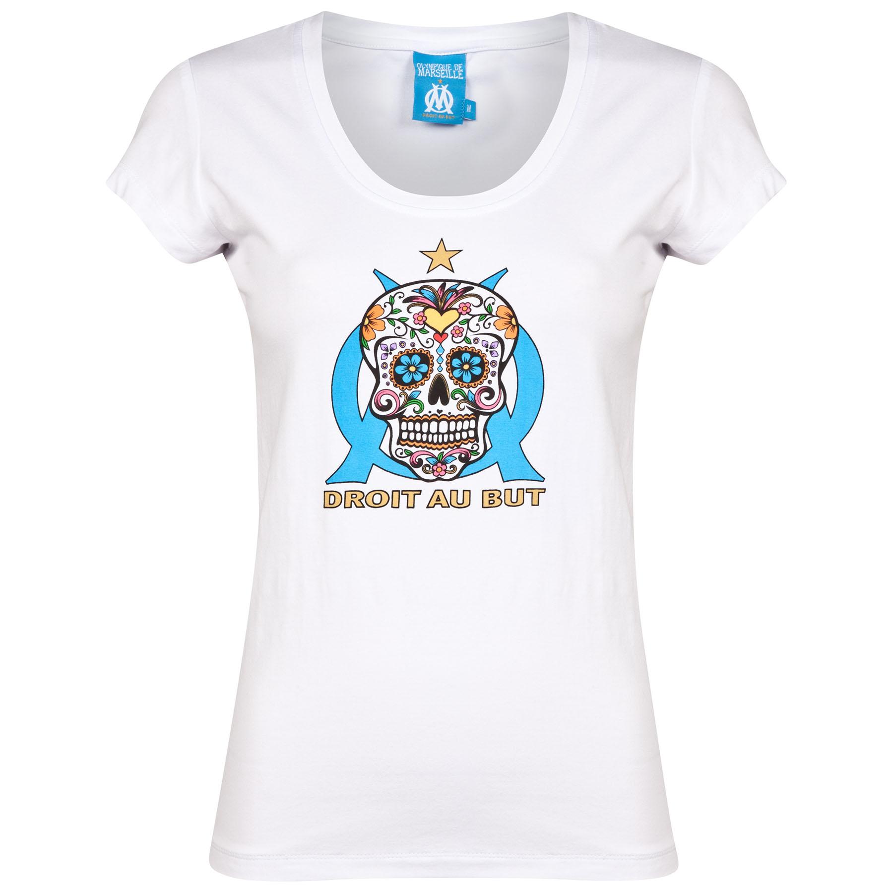 Olympique de Marseille Happy Graphic T-Shirt - White - Womens