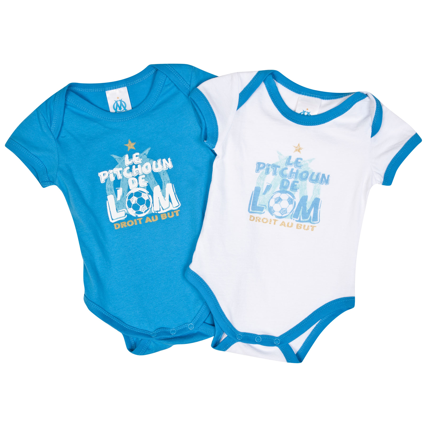 Olympique de Marseille 2 PK Bodysuits - Blue/White - baby Boys