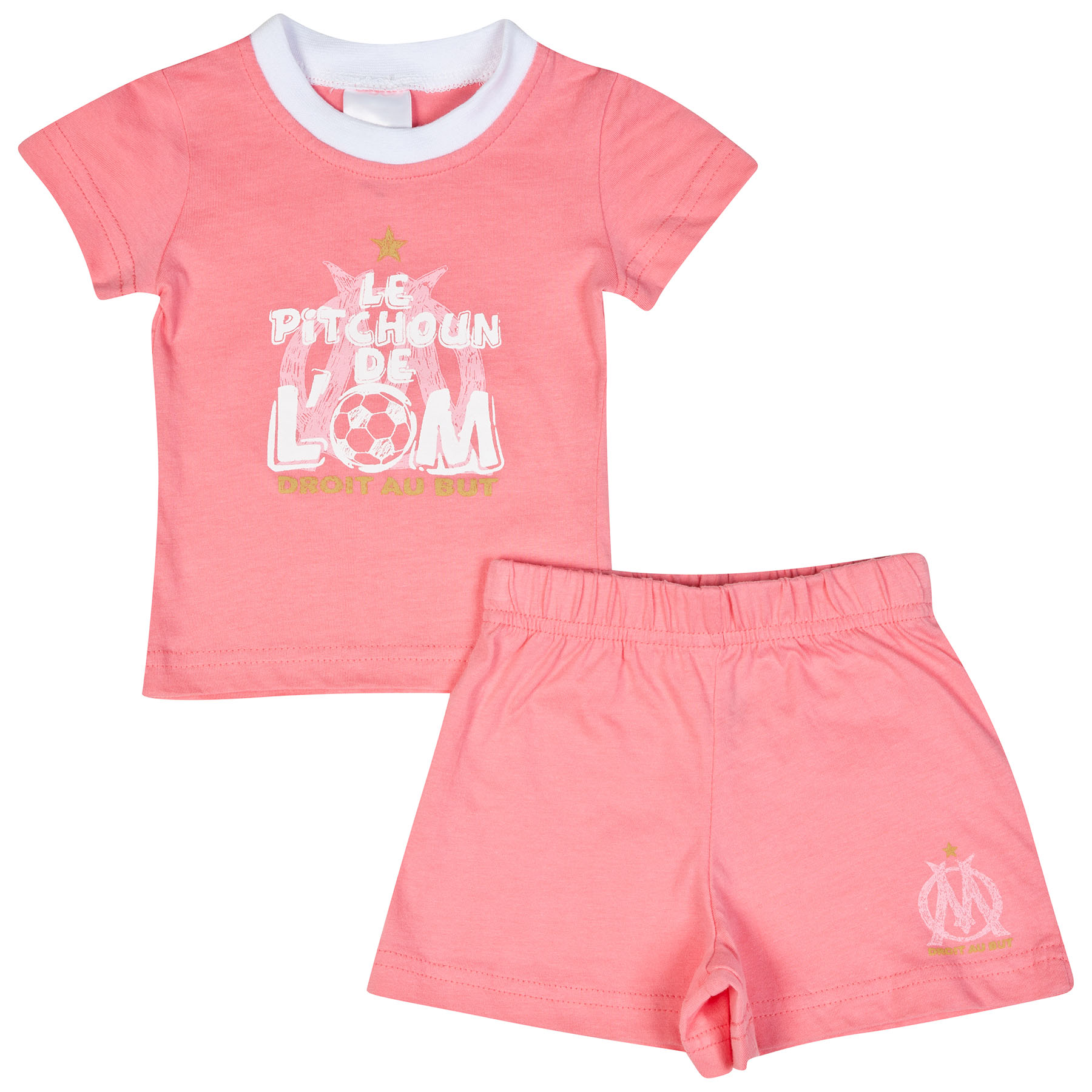 Olympique de Marseille T-Shirt and Short Set - Pink - Baby Girls