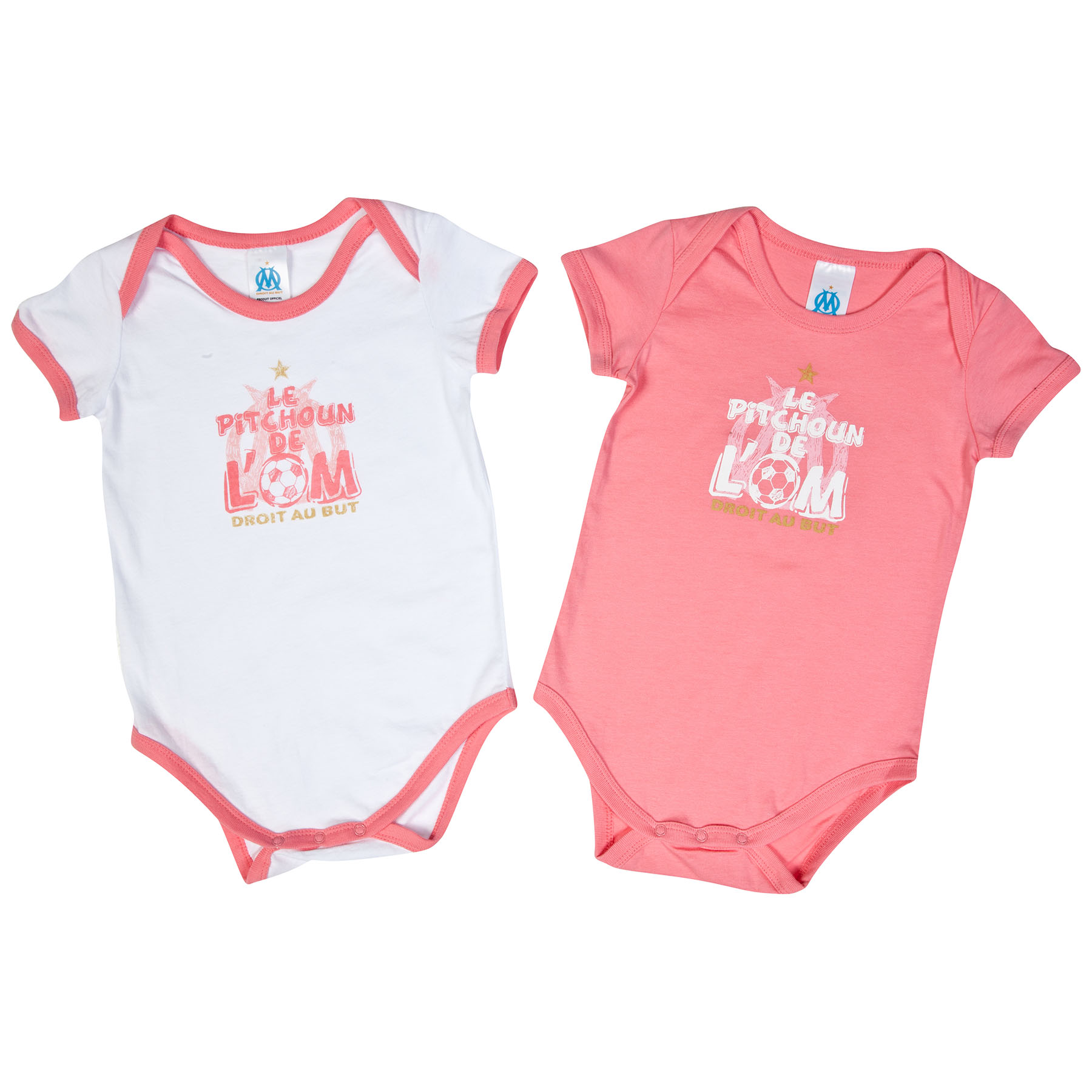 Olympique de Marseille 2 PK Bodysuits - Pink/White - Baby Girls