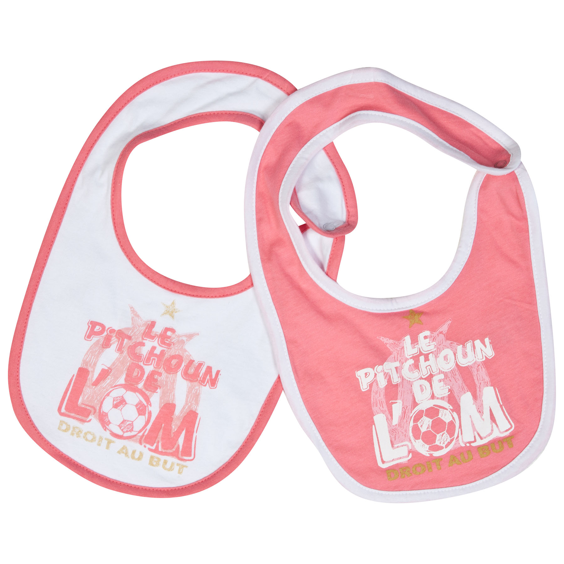 Olympique de Marseille 2 PK Bibs - Pink/White - Baby Girls