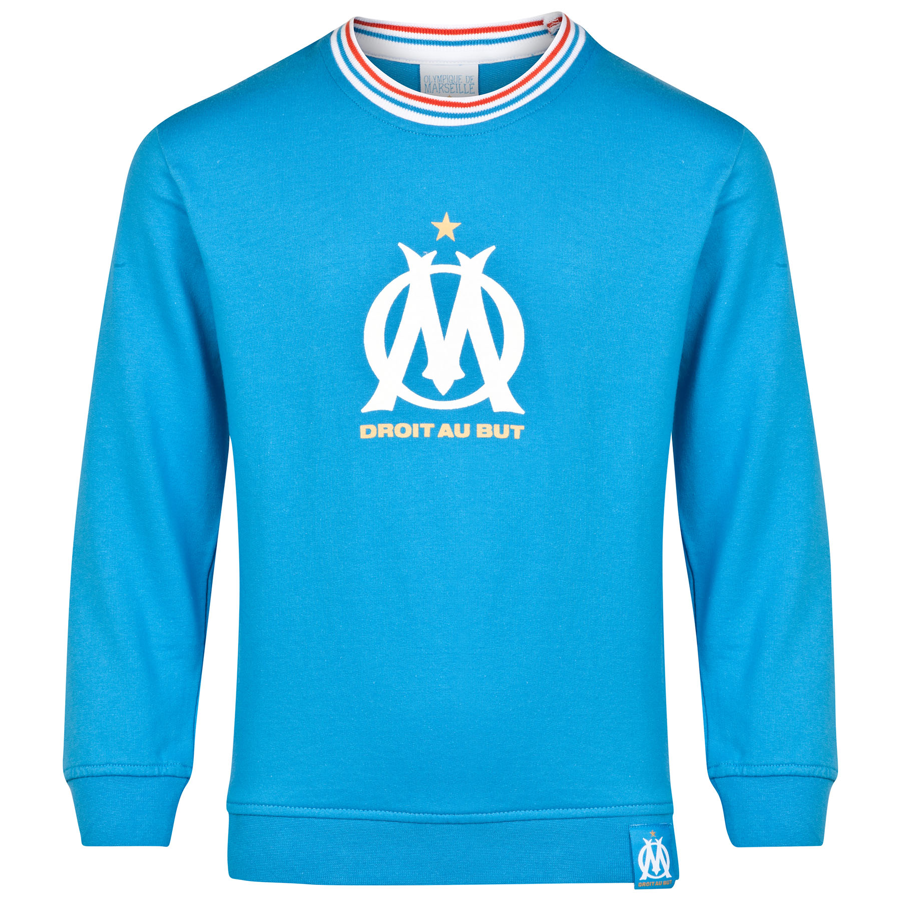 Olympique de Marseille Crest Logo Crew Neck Sweater - Blue - Boys