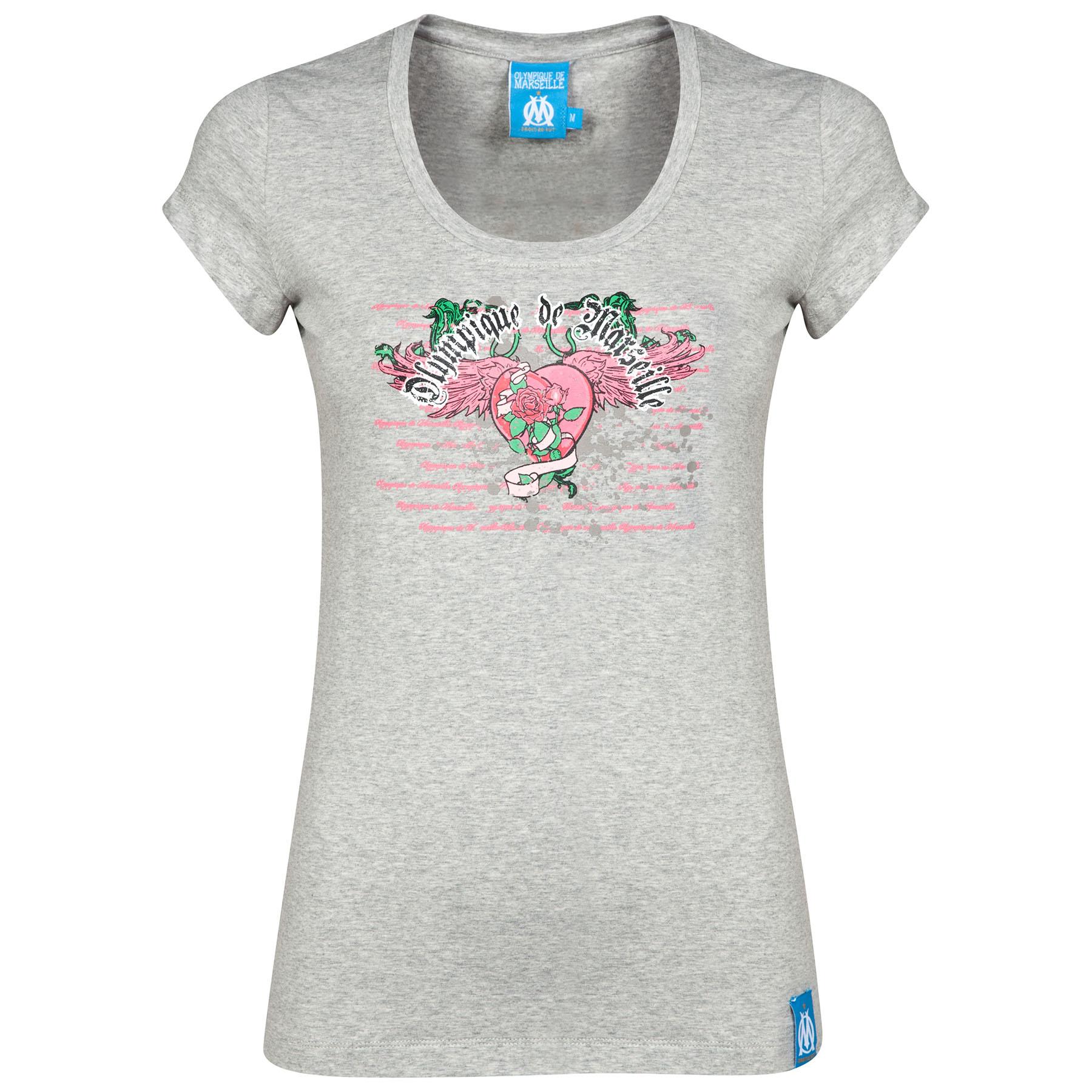 Olympique de Marseille Flower T-Shirt - Grey - Womens Grey