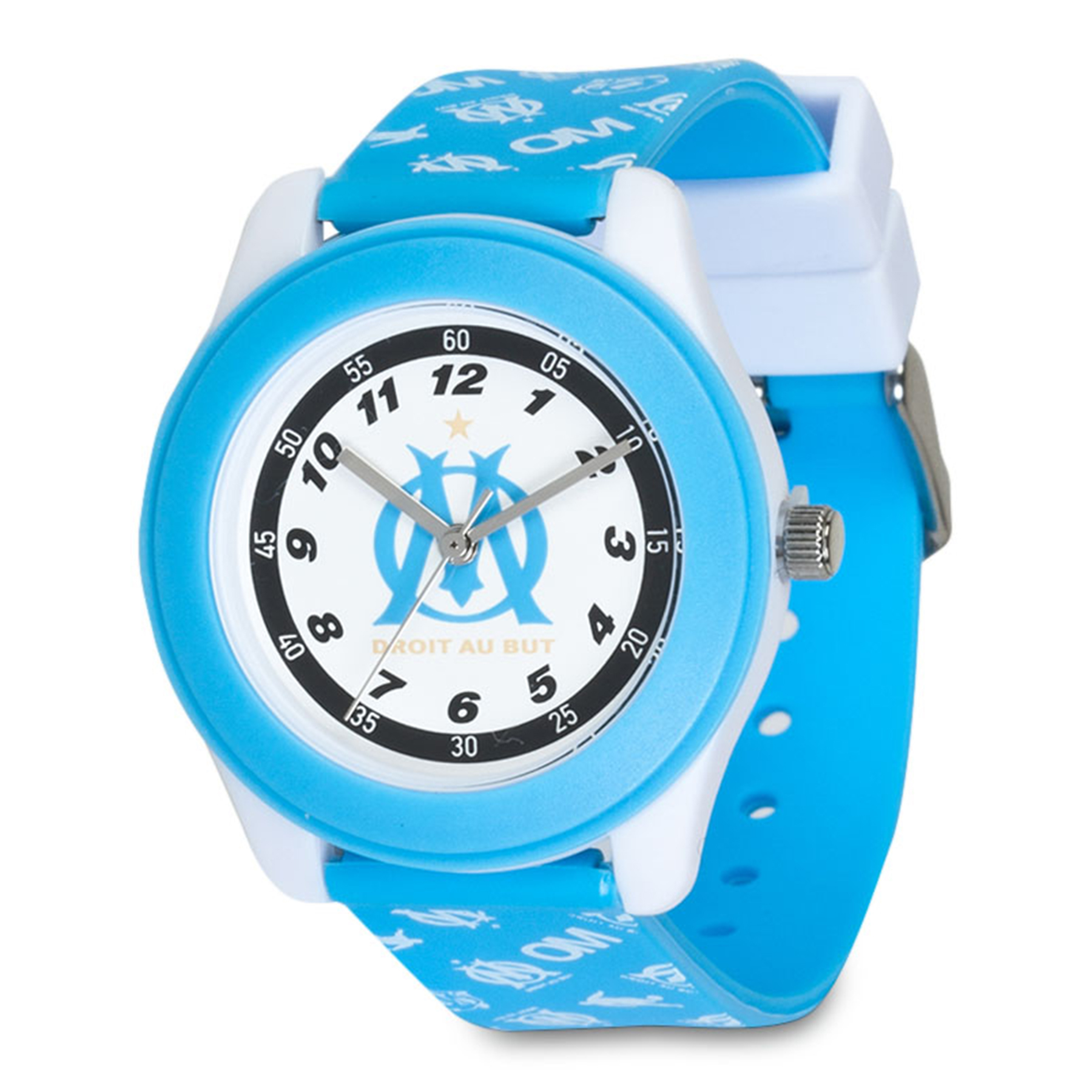 Olympique de Marseille Repeat Pattern Plastic Watch - Blue - Junior