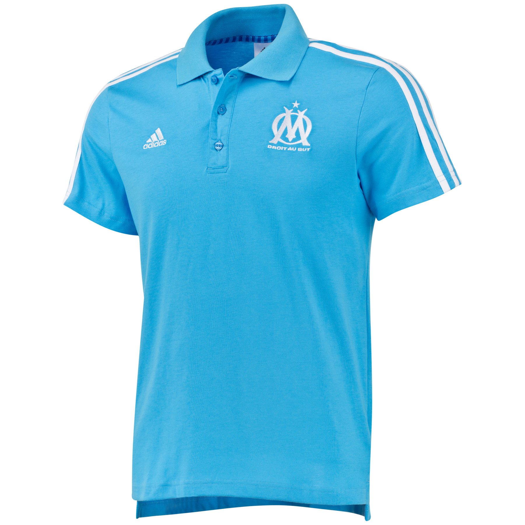 "Image of ""Polo 3-stripes Olympique de Marseille - Blanc/Bleu"""