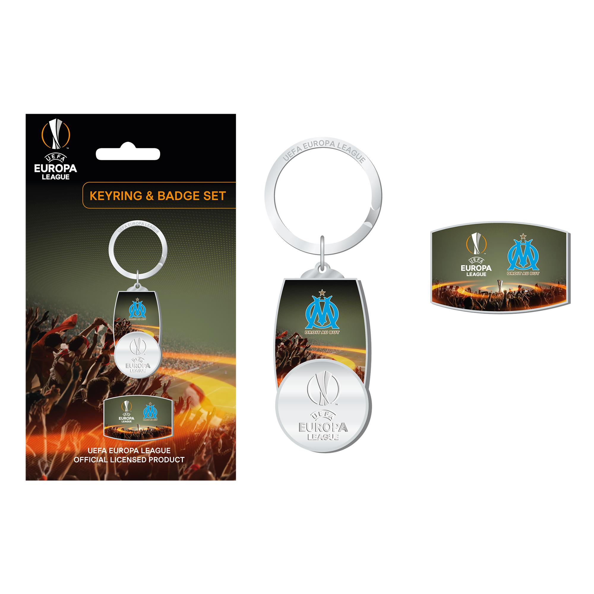 """Image of """"Ensemble badge et porte-clés UEFA Europa League Olympique de Marseille"""""""