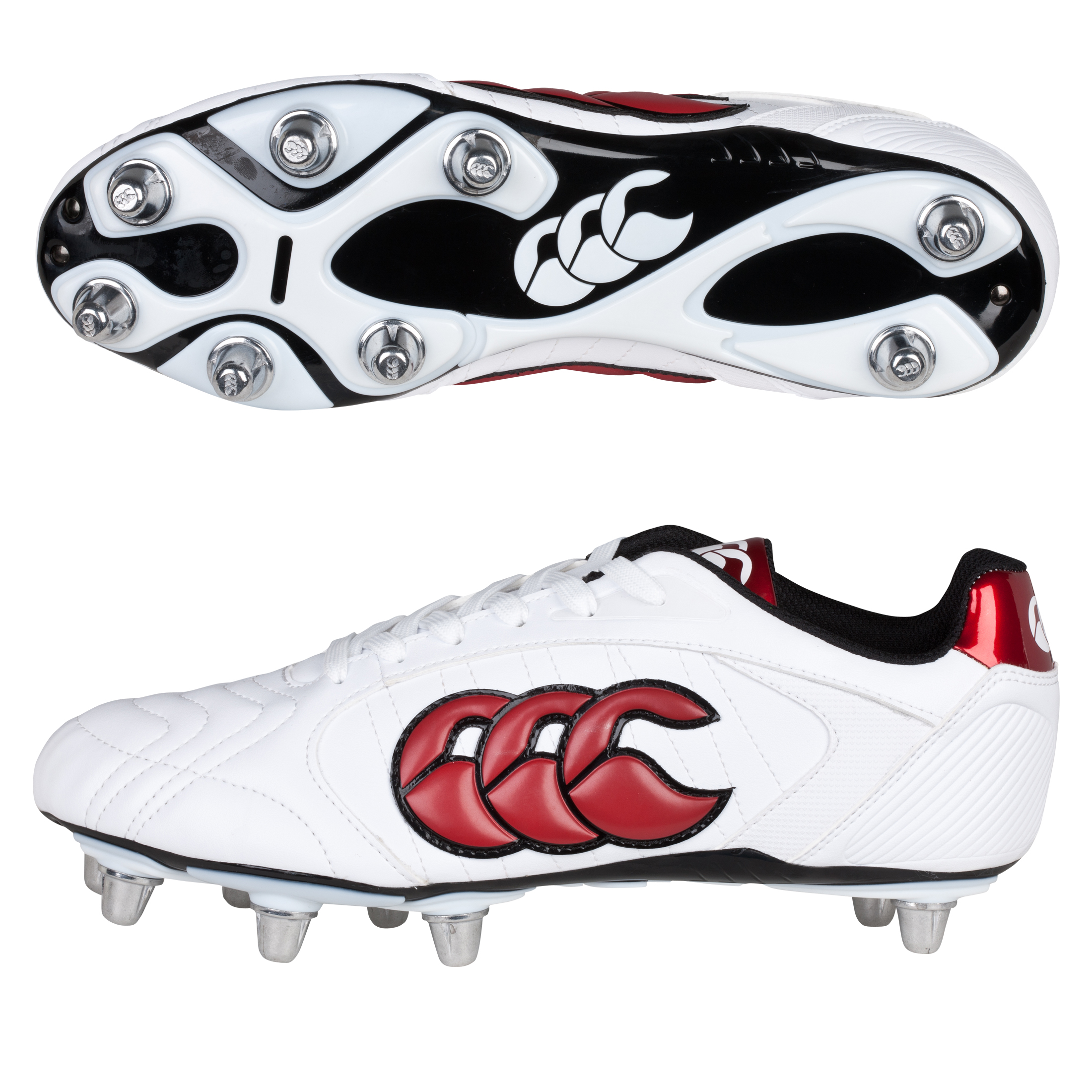 Canterbury Phoenix Lli Club 8 Stud Rugby Boot - White/Red/Black