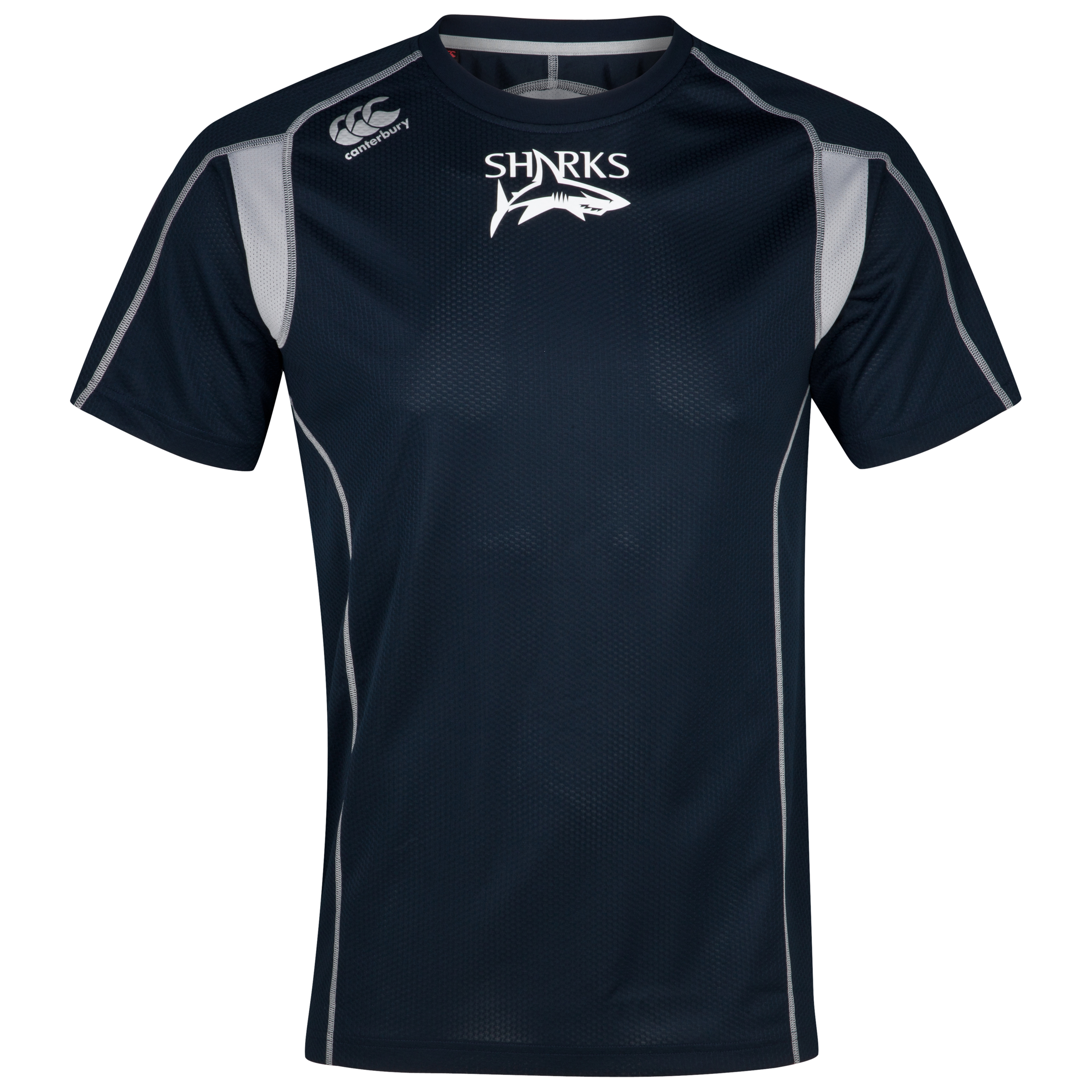 Sale Sharks Pro Cut and Sew Dry T-Shirt - Navy/Silver