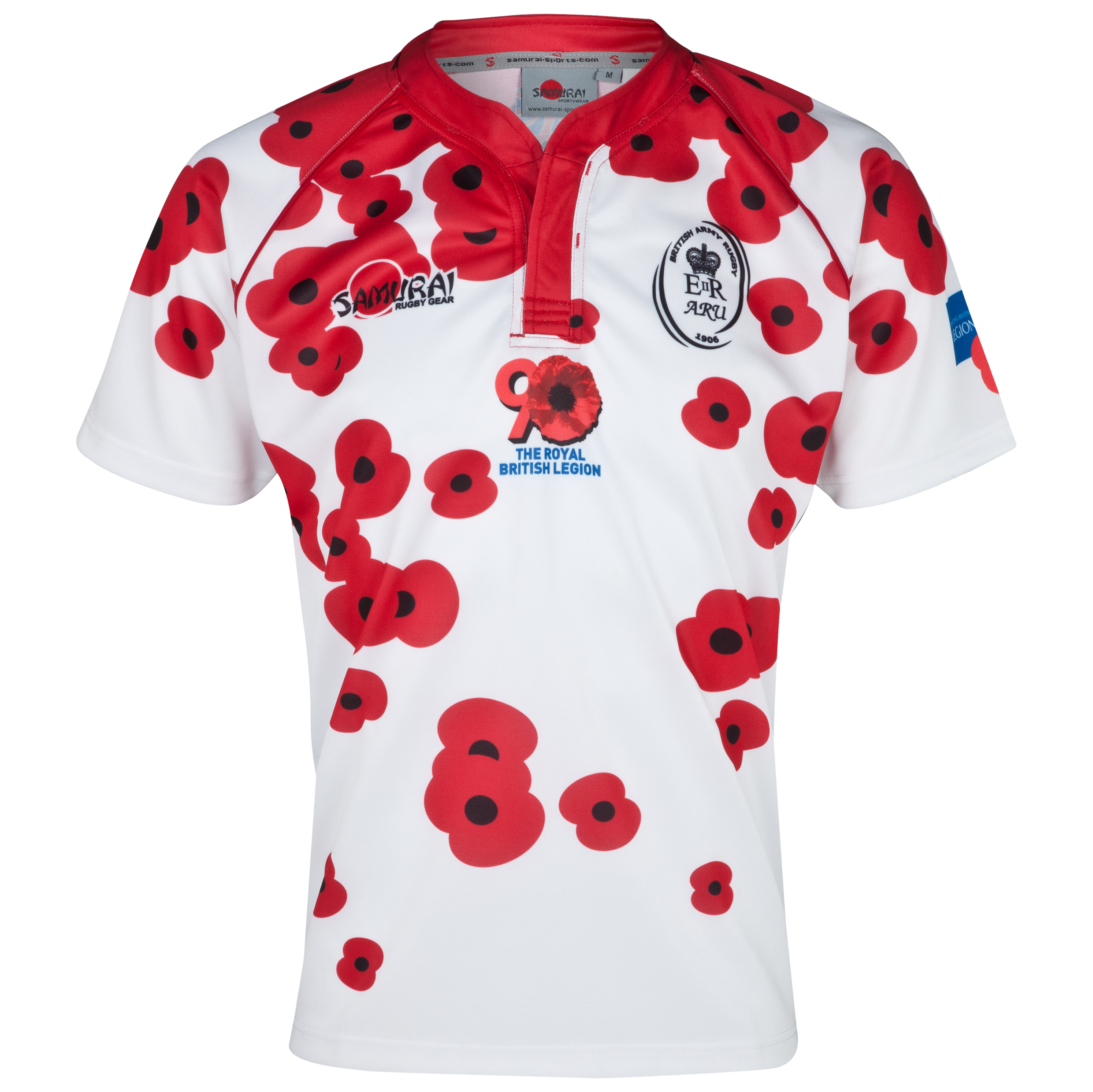 Army Rugby Union Poppy Shirt - White/Red/Multi