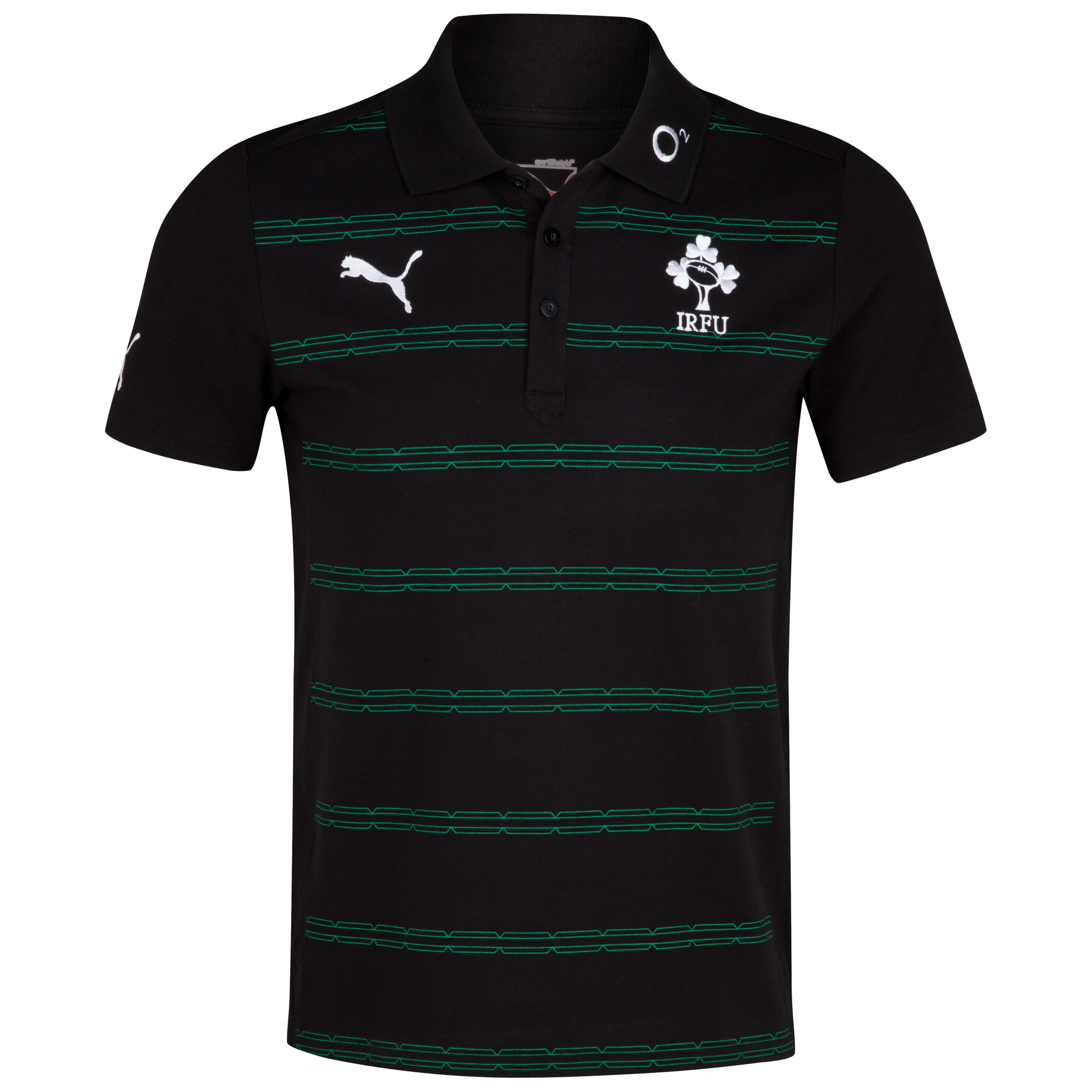 Ireland Rugby Hooped Polo - Black/Green
