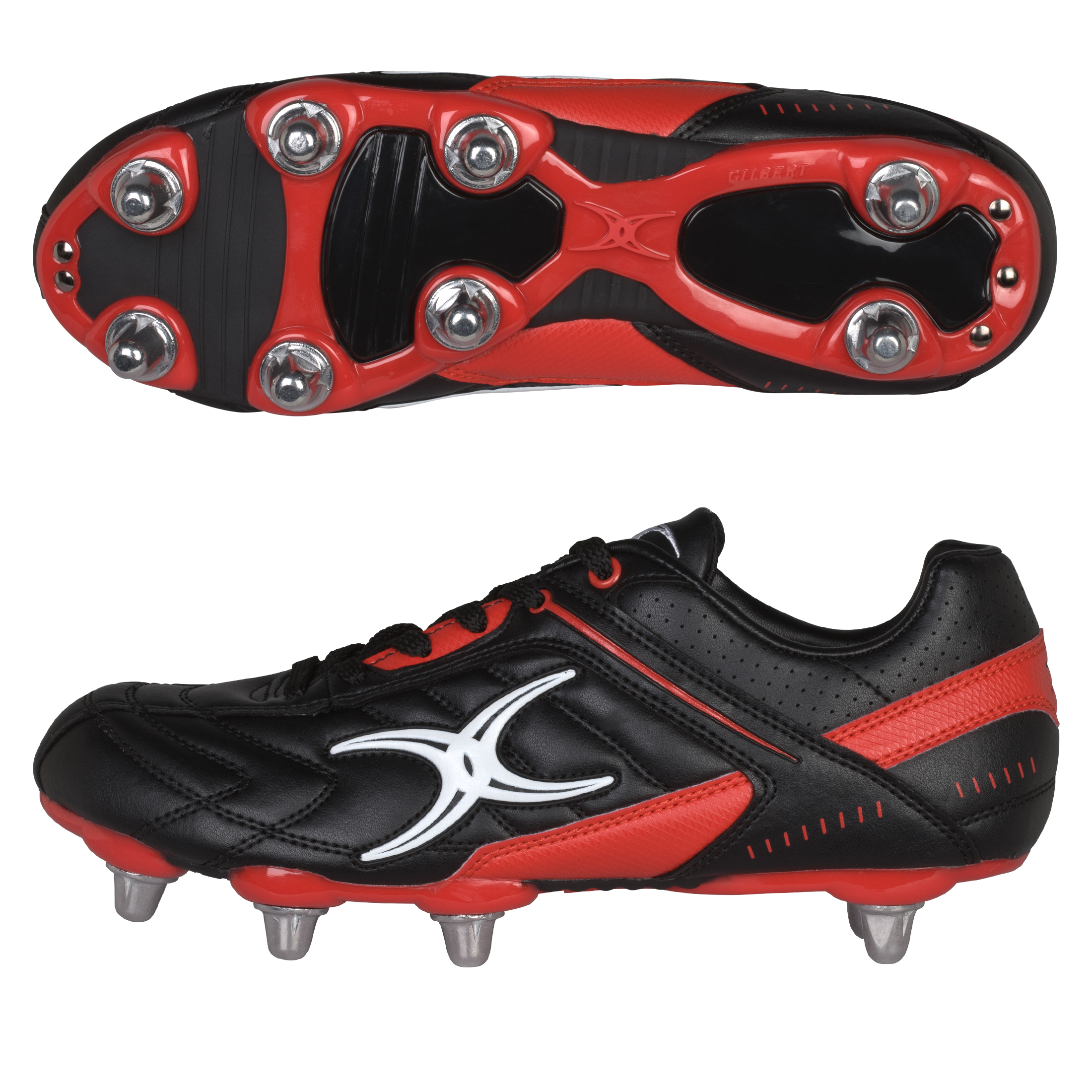 Gilbert Sidestep Barbarian Rugby Boots - Black/Red