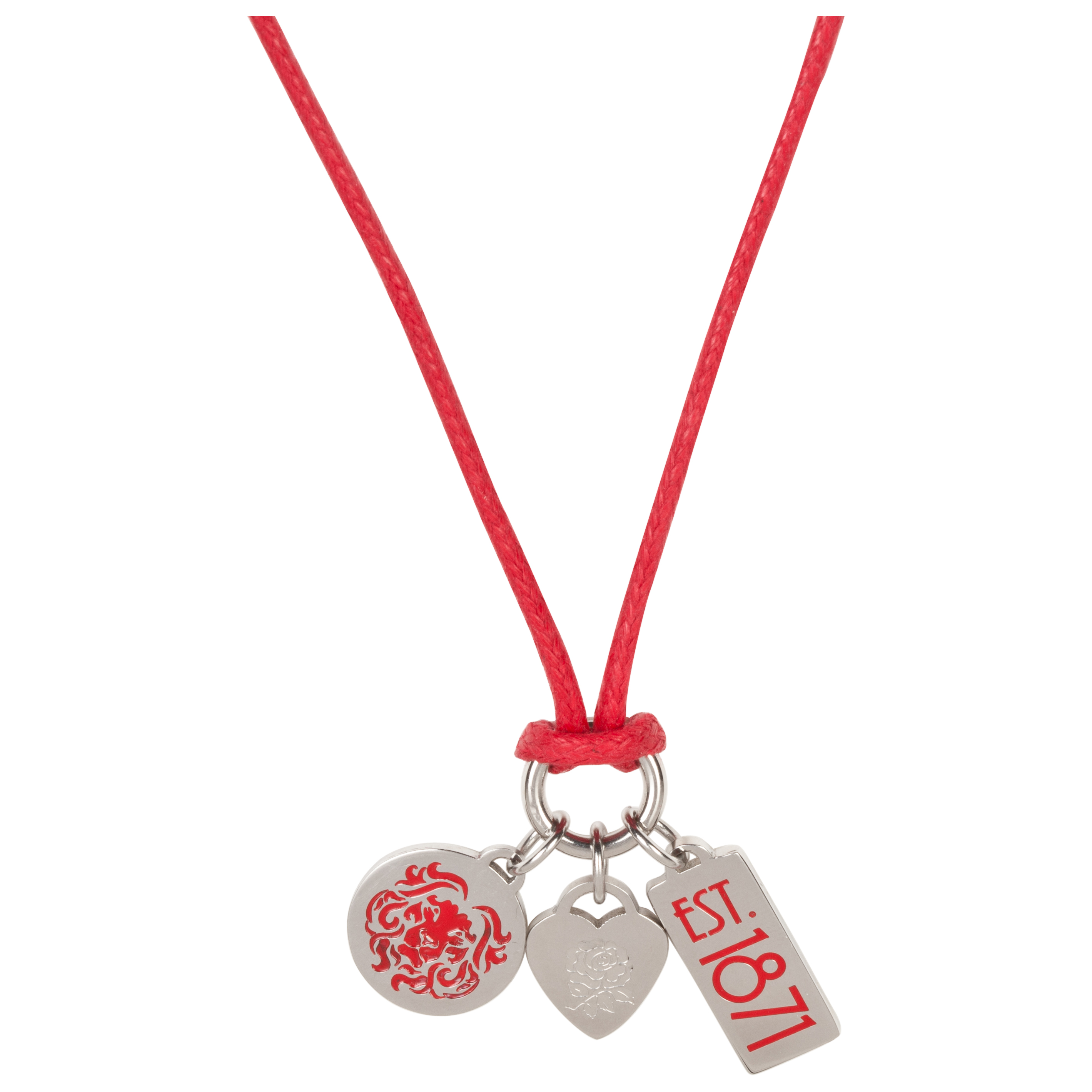 England Rugby Rose Charm Necklace - Red/Silver
