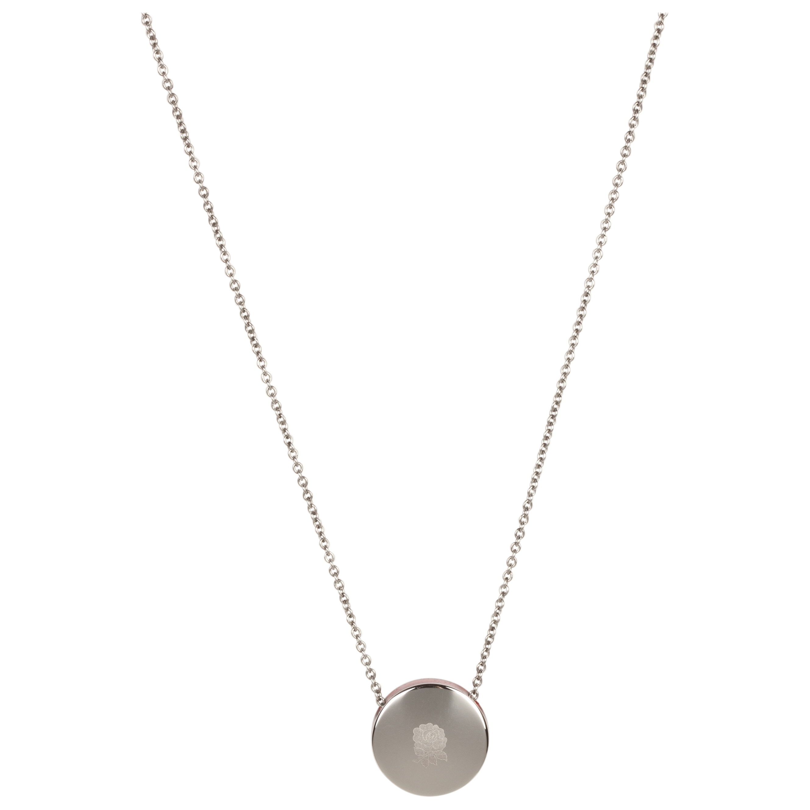 England Rugby Rose Polished Steel Disc Necklace