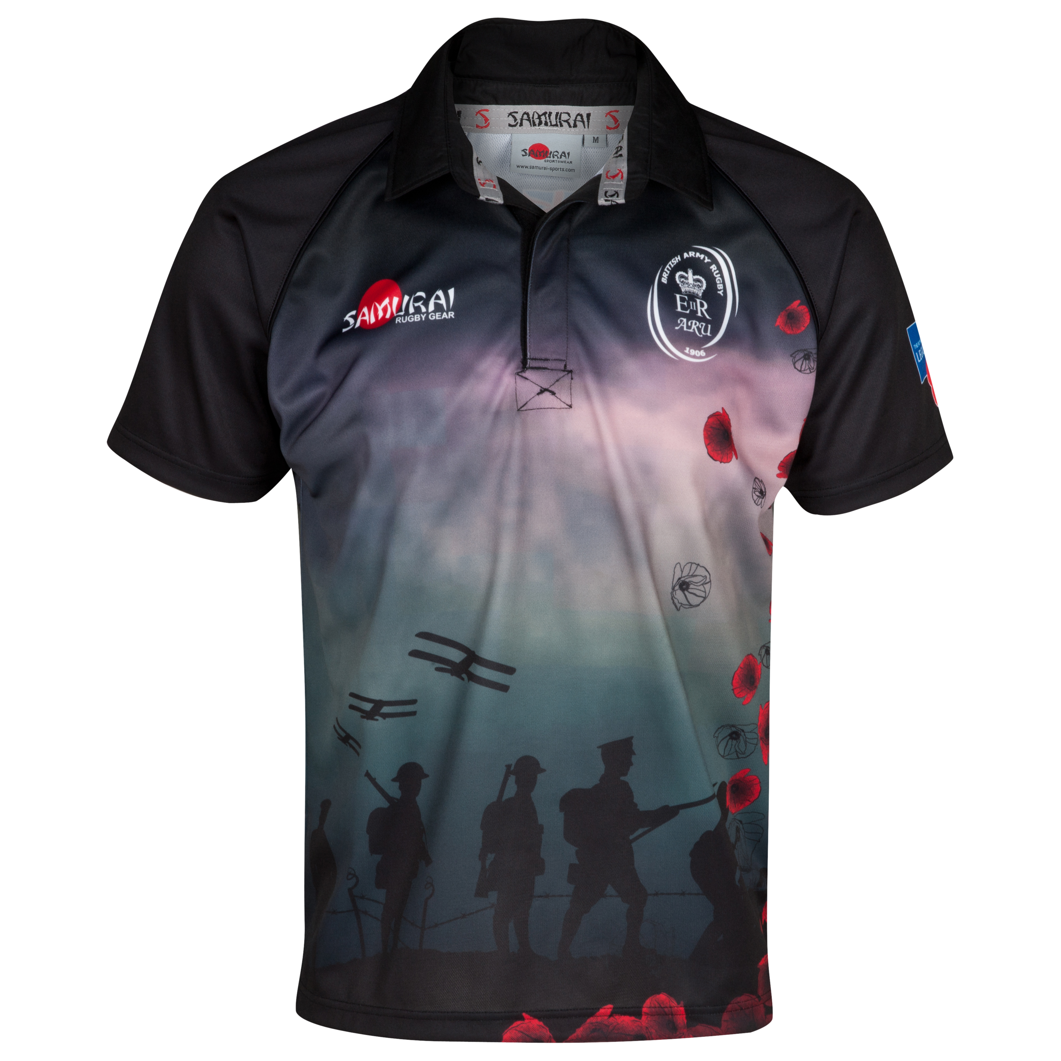 Army Rugby Union Poppy Shirt 2013 - Black/Red/Multi
