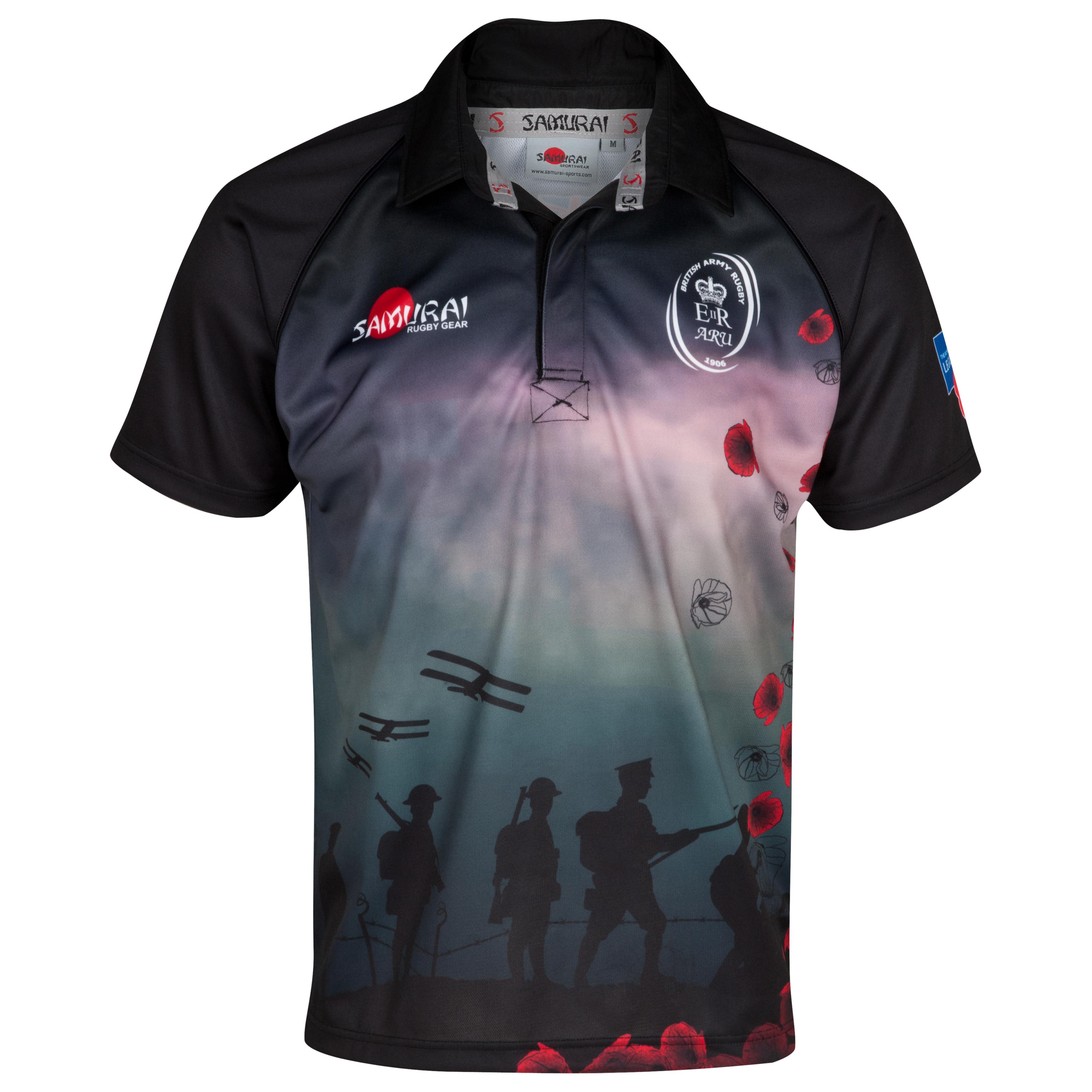 Army Rugby Union Poppy Shirt - Black/Red/Multi