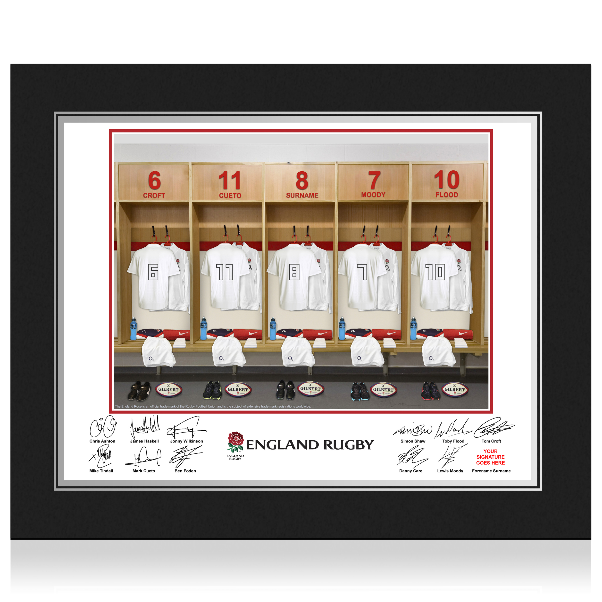 England Rugby Personalised Dressing Room Photo in Presentation Folder