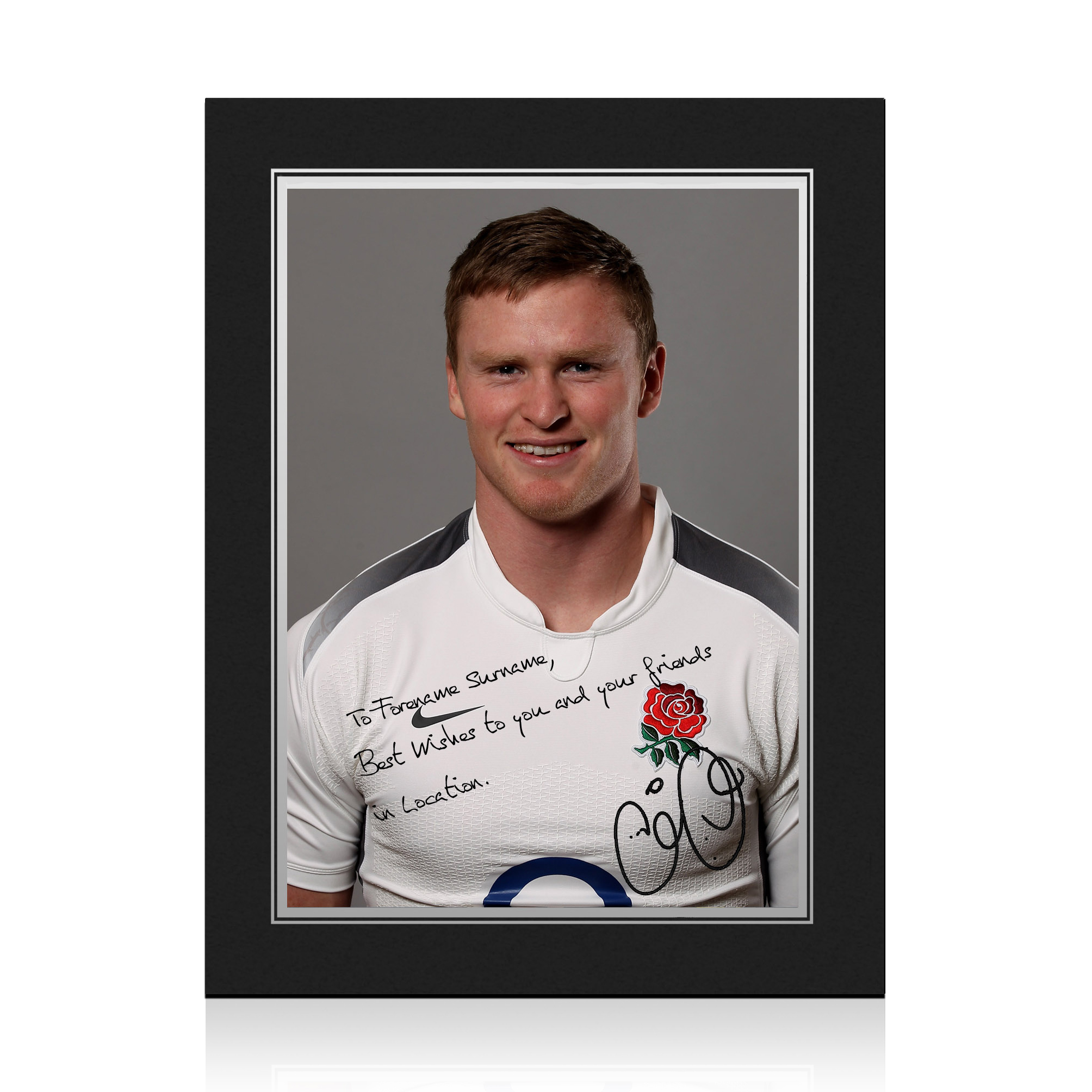 England Rugby Personalised Signature Print in Presentation Folder - Ashton