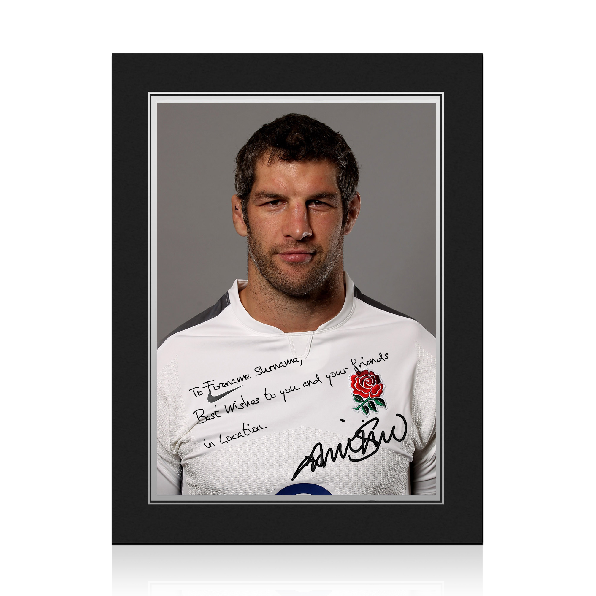 England Rugby Personalised Signature Print in Presentation Folder - Shaw