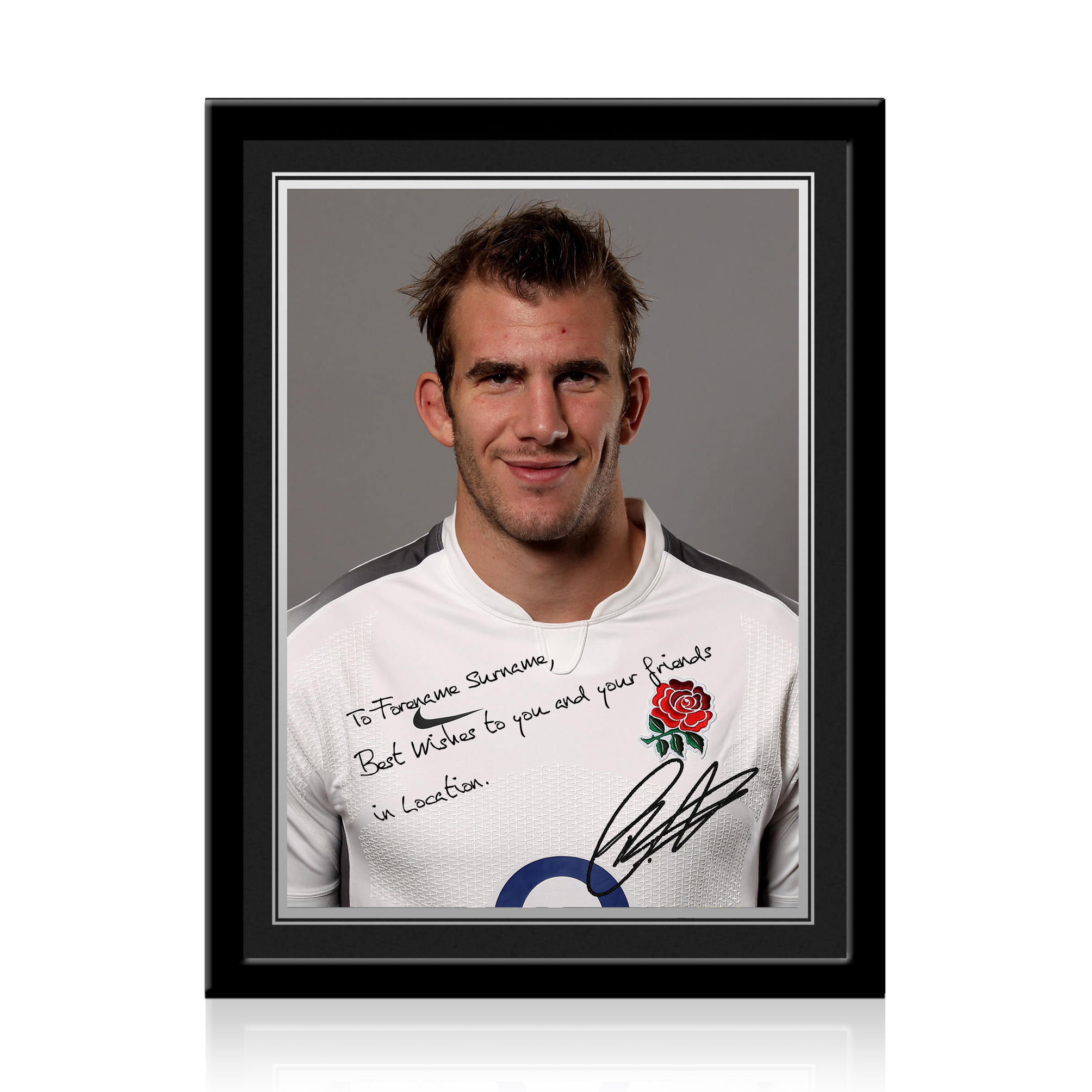 England Rugby Personalised Signature Print Framed - Croft
