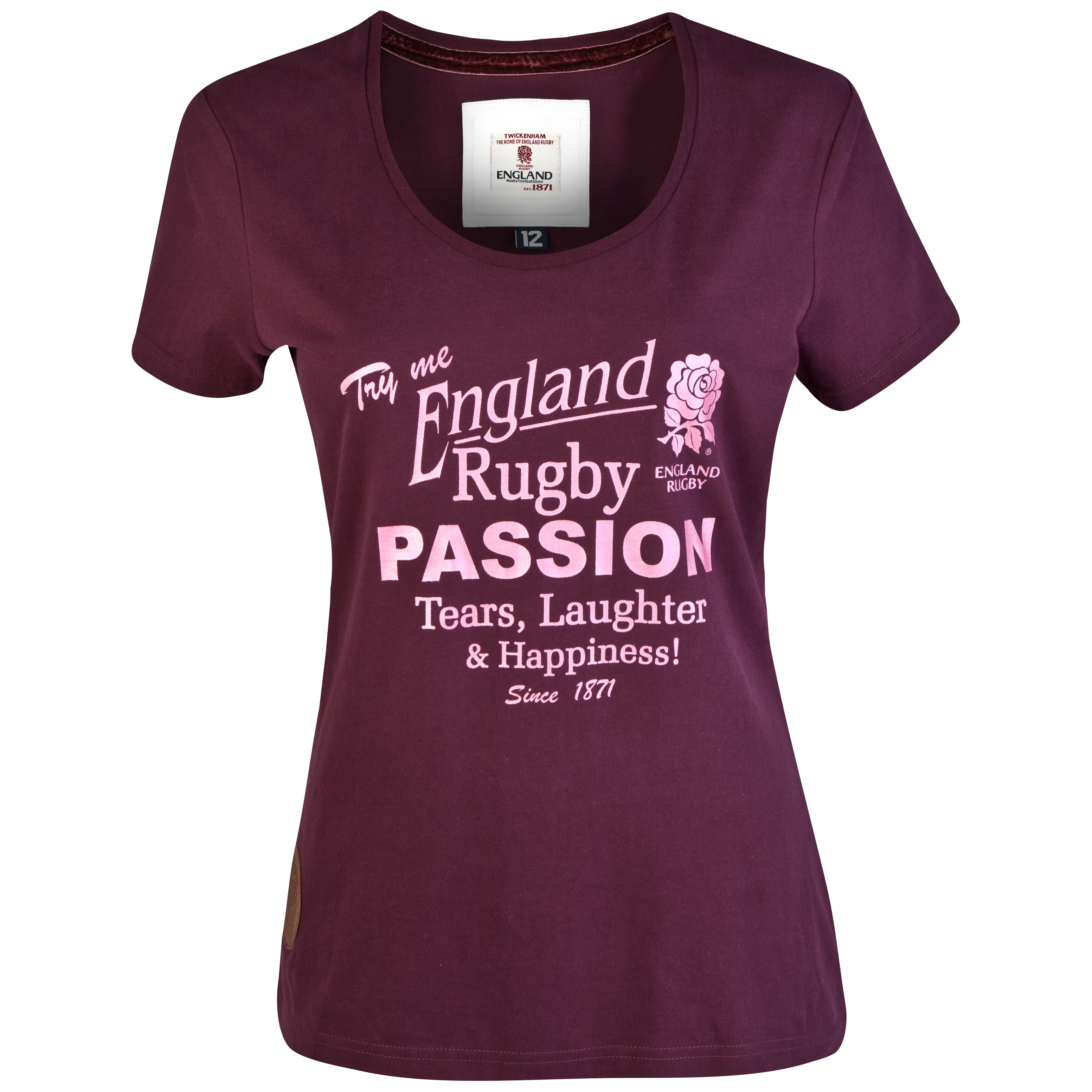 England Rugby Authentic Collection Passion T-Shirt - Brown/Pink - Womens