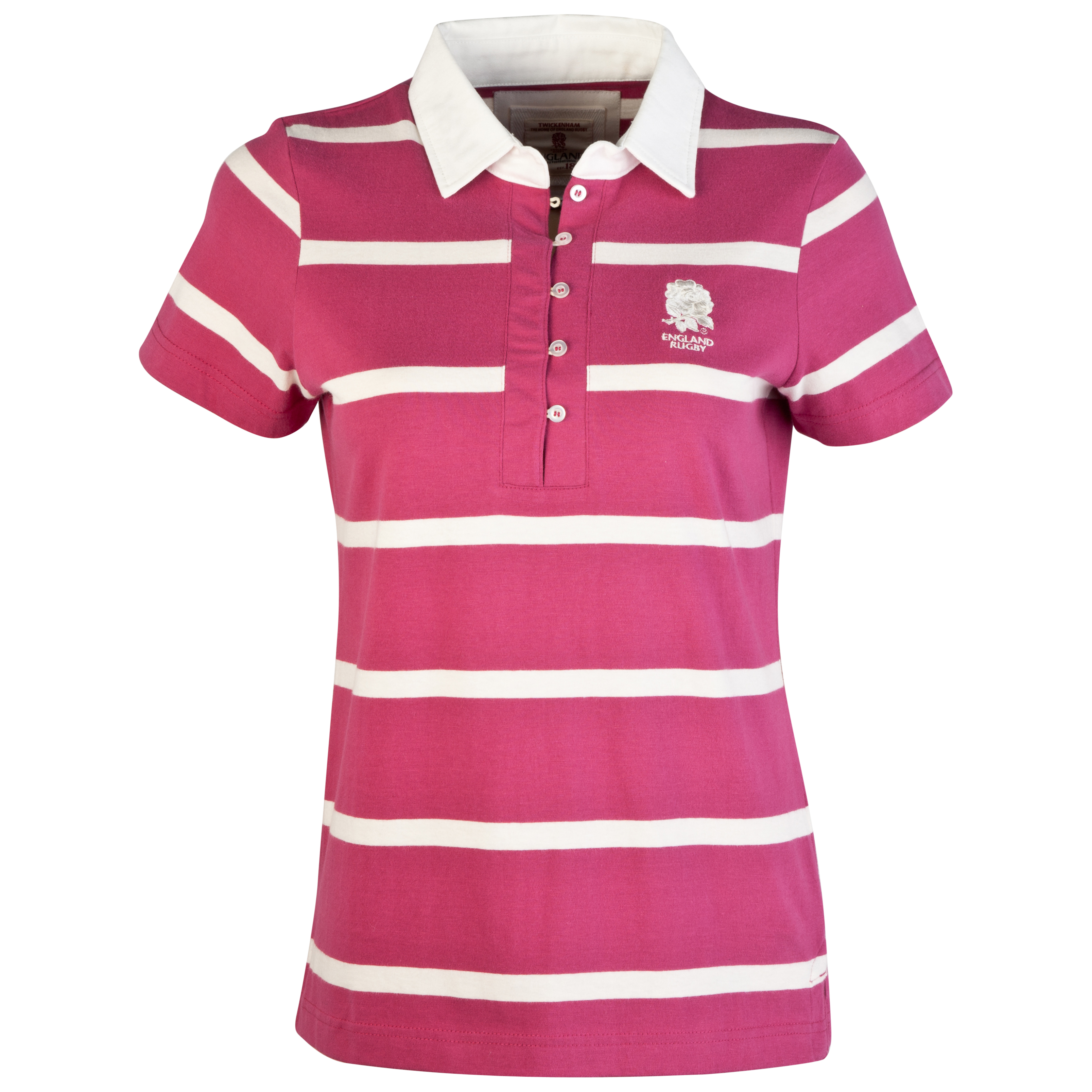 England Rugby Authentic Collection Striped Polo - Pink/Cream - Womens