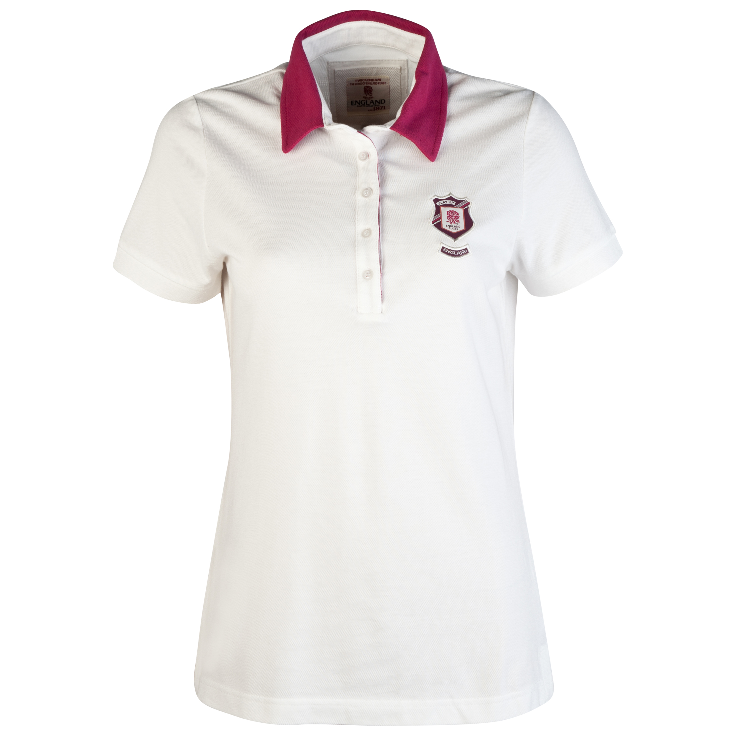 England Rugby Authentic Collection Solid Polo - Cream/Pink - Womens