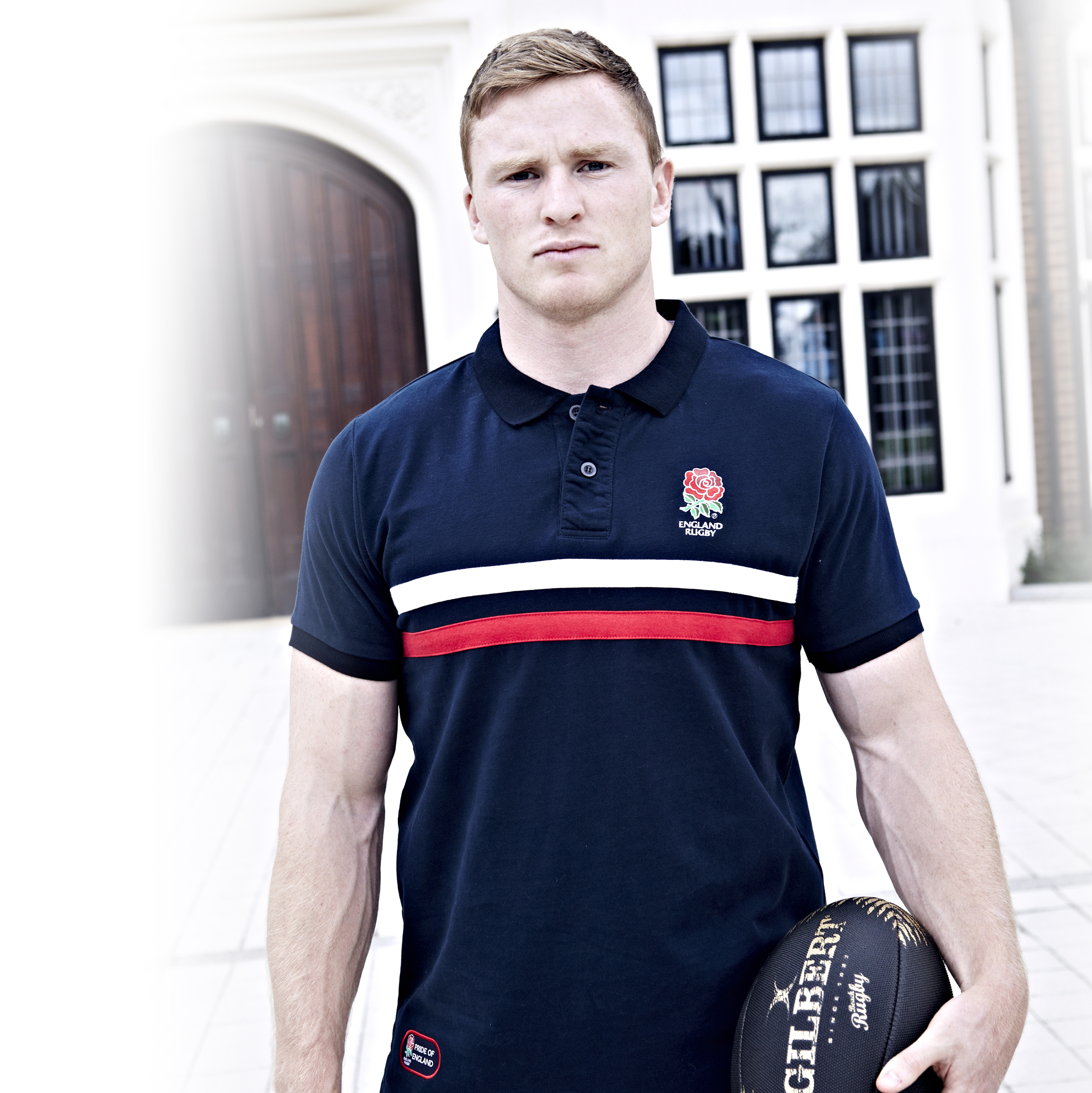 England Rugby Classic Collection Stiped Polo - Navy