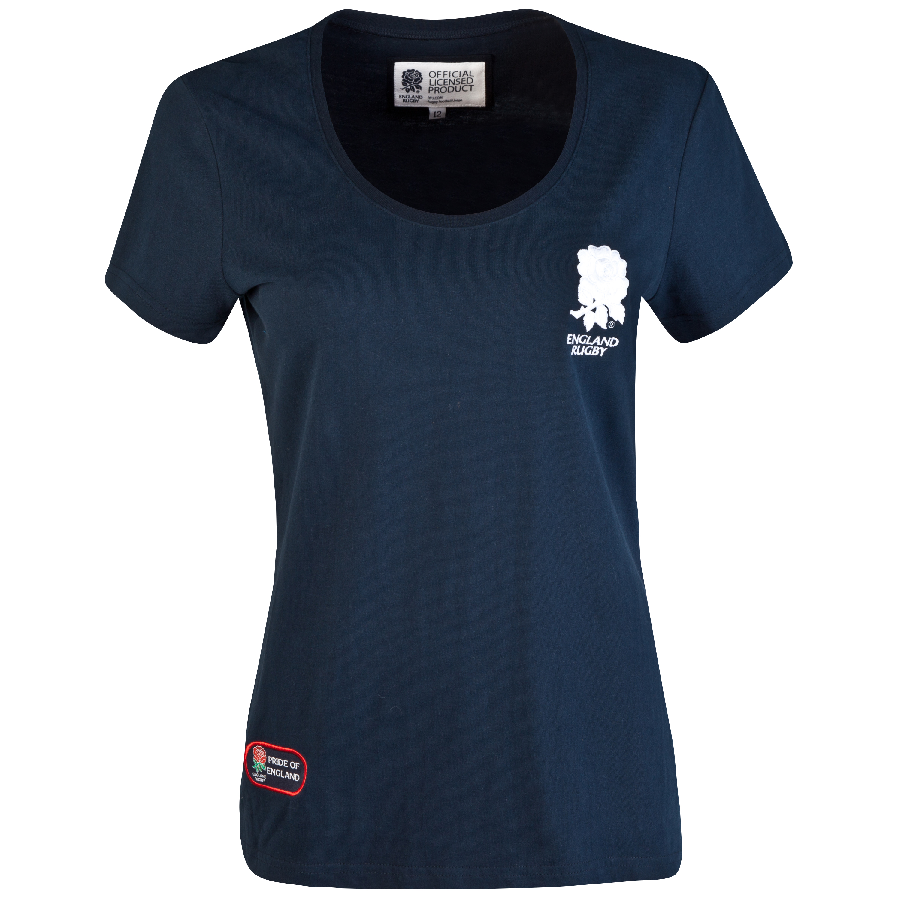 England Rugby Classic Collection Rose T-Shirt  - Navy - Womens