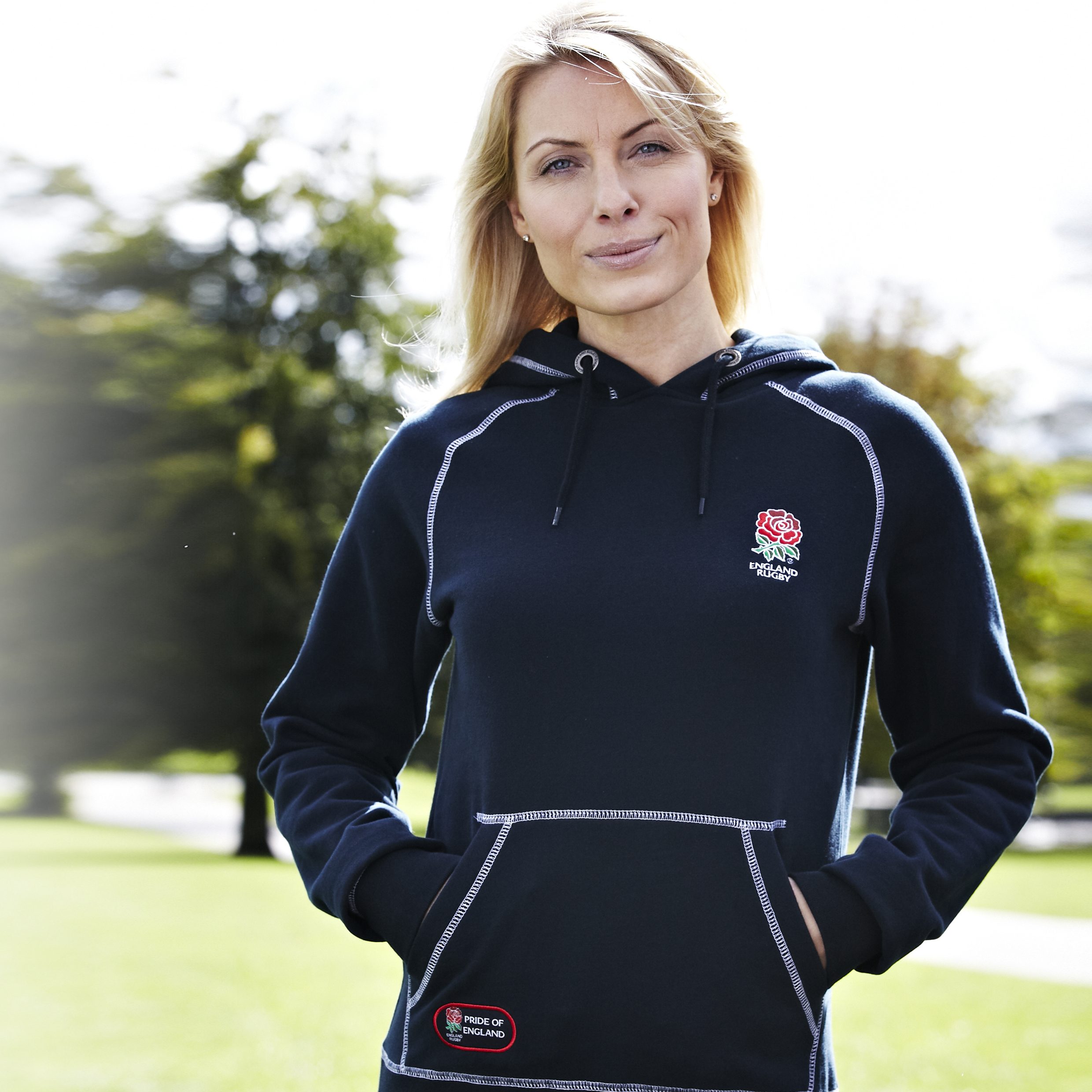England Rugby Classic Collection Rose Hoody  - Navy- Womens