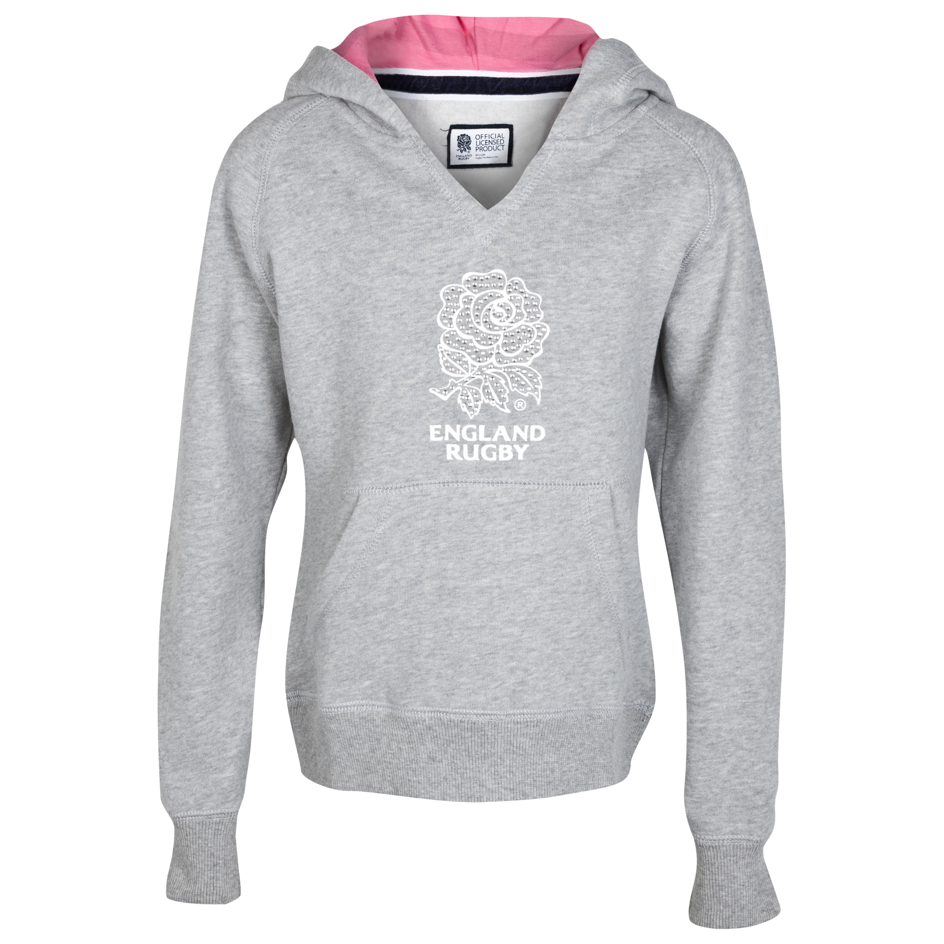 England Rugby Classic Collection Hoody - Grey/Pink - Infant Girls