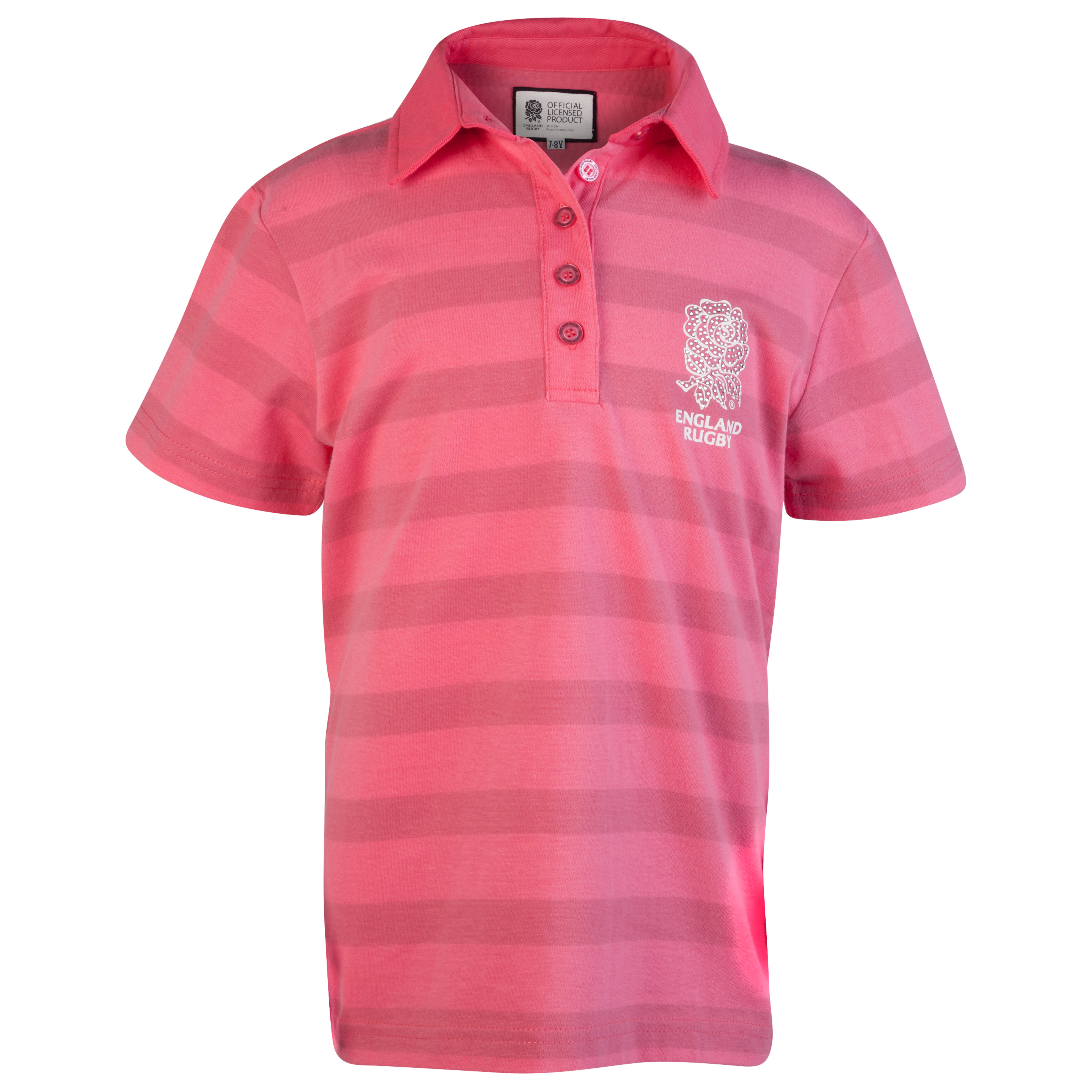 England Rugby Classic Collection Stiped Polo - Pink - Older Girls