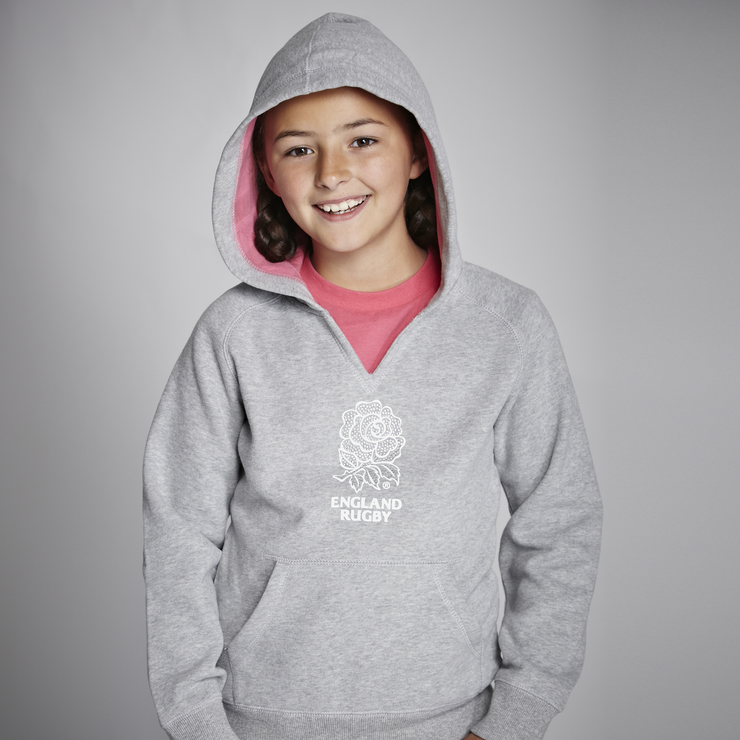 England Rugby Classic Collection Hoody - Grey/Pink - Older Girls