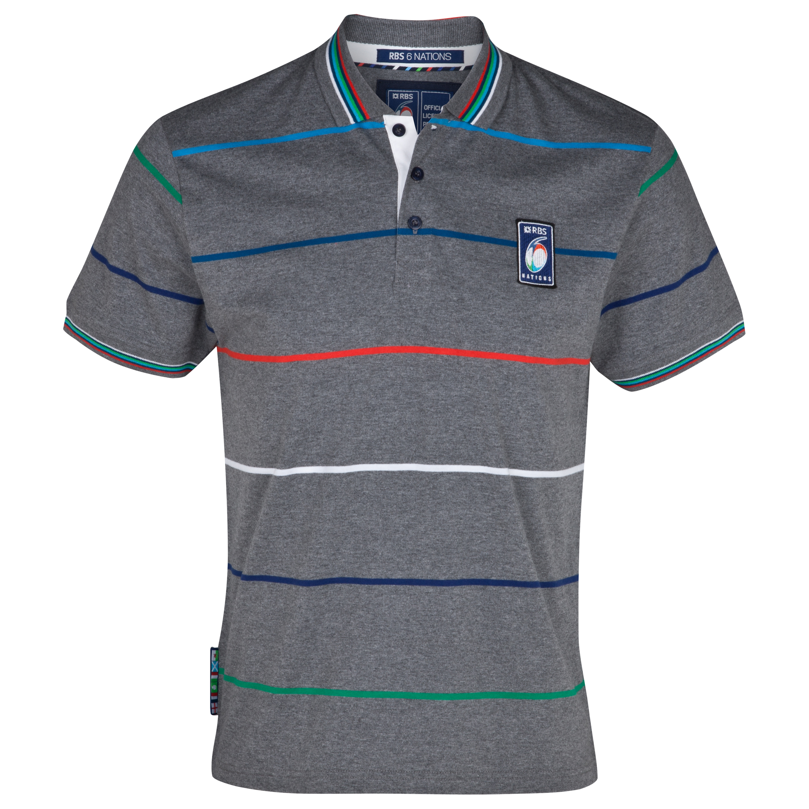 RBS 6 Nations Striped Jersey Polo - Dark Grey Marl