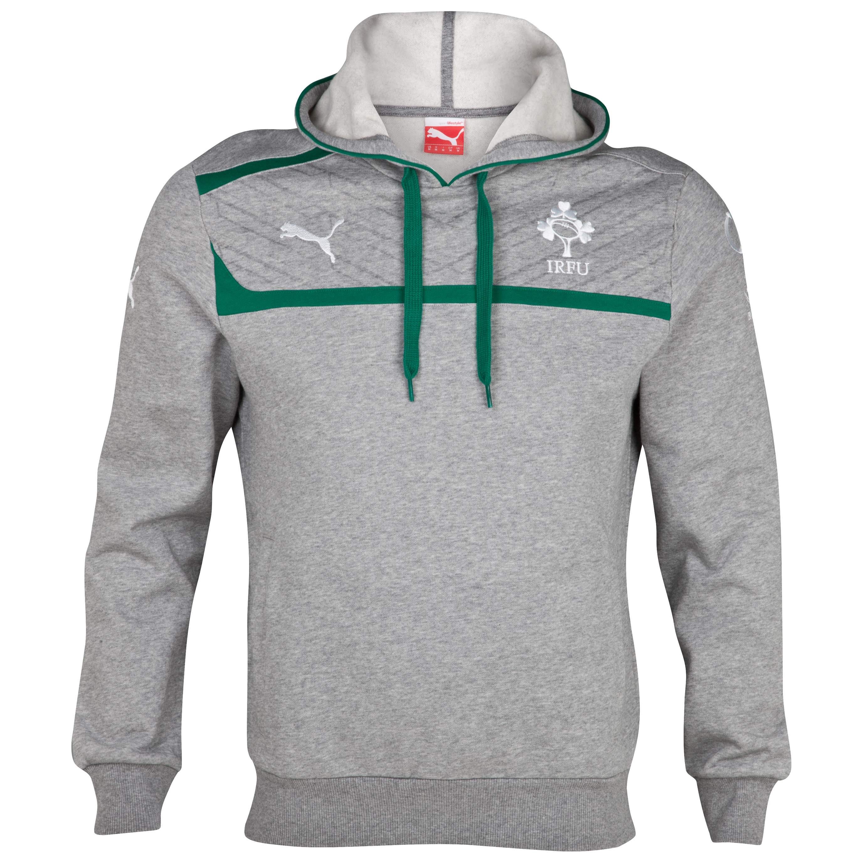 Ireland Rugby Overhead Hoody - Grey Marl/Power Green/White