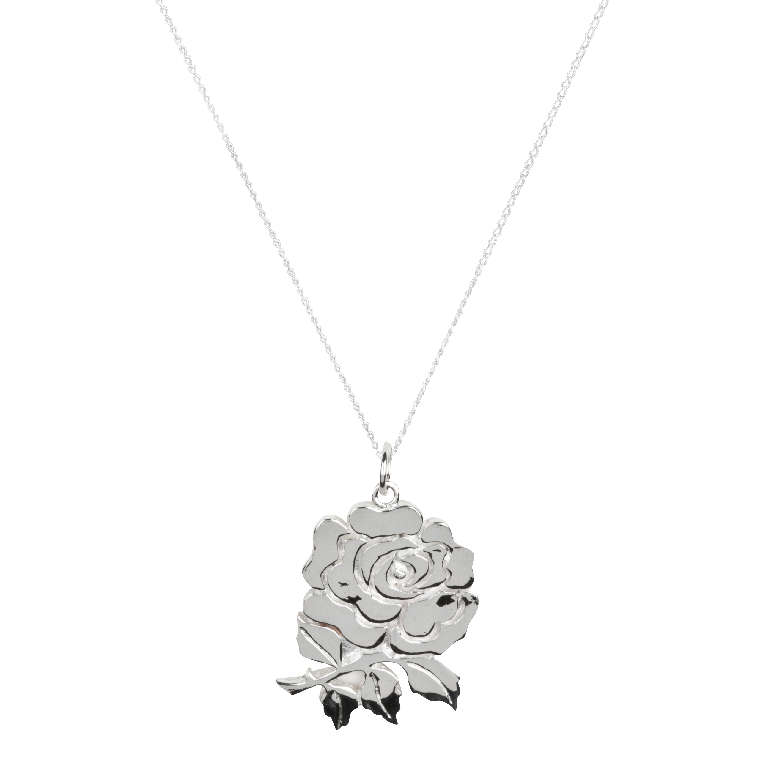 England Rugby Rose Sterling Silver Pendant and Chain